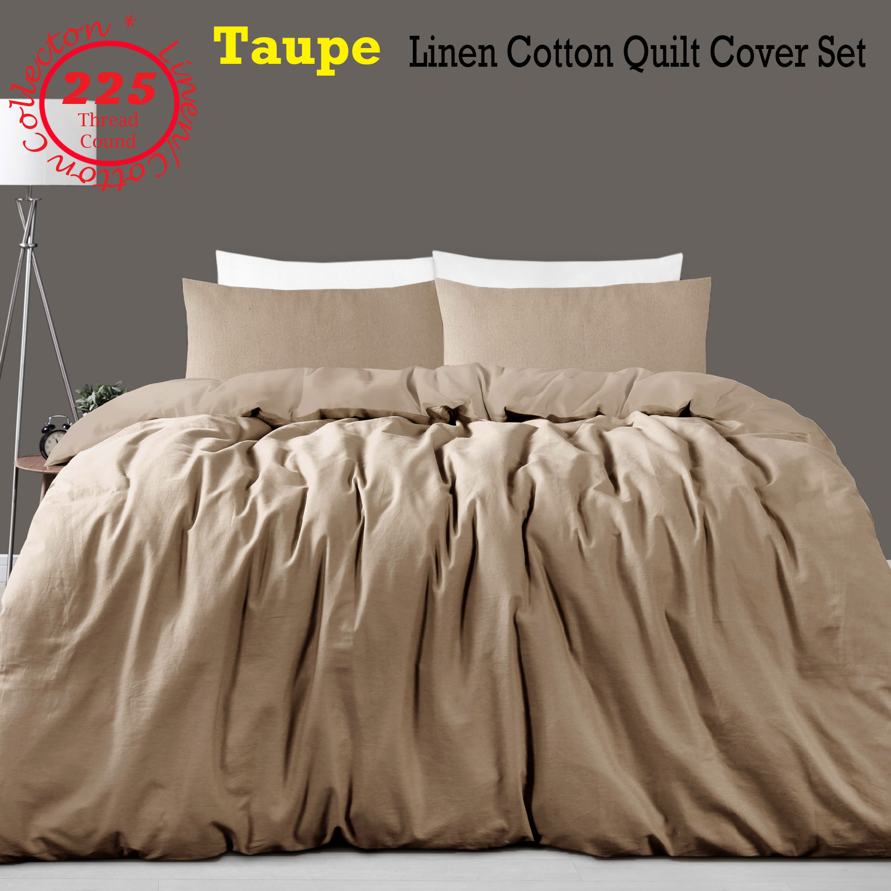 3 Pce 225tc Linen Cotton Taupe Quilt Doona Duvet Cover Set Queen King Super King Ebay