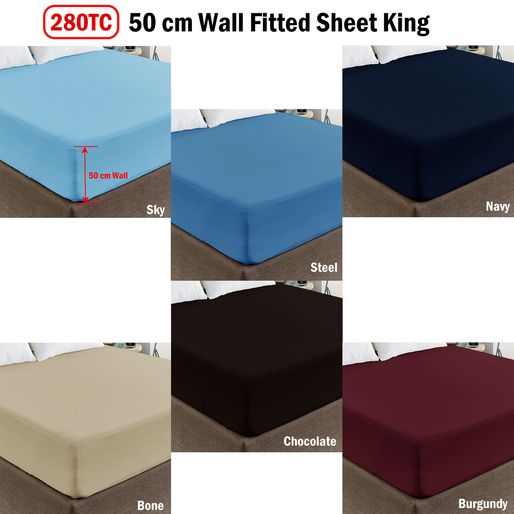 50cm Cotton Polyester Percale Deep Wall Ed Sheet King
