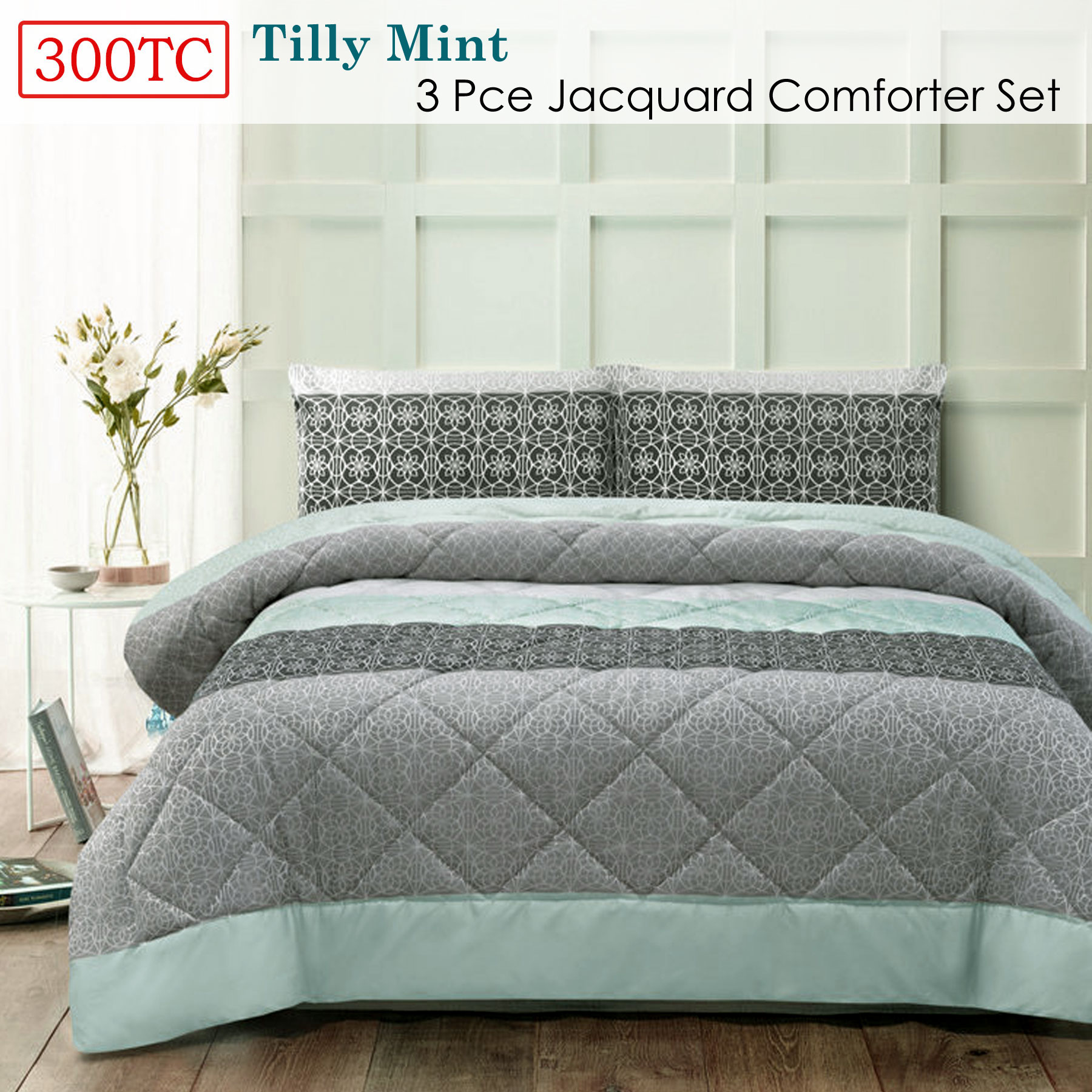 3 Pce 300TC Alexis Grey Jacquard Comforter Set by Accessorize QUEEN KING