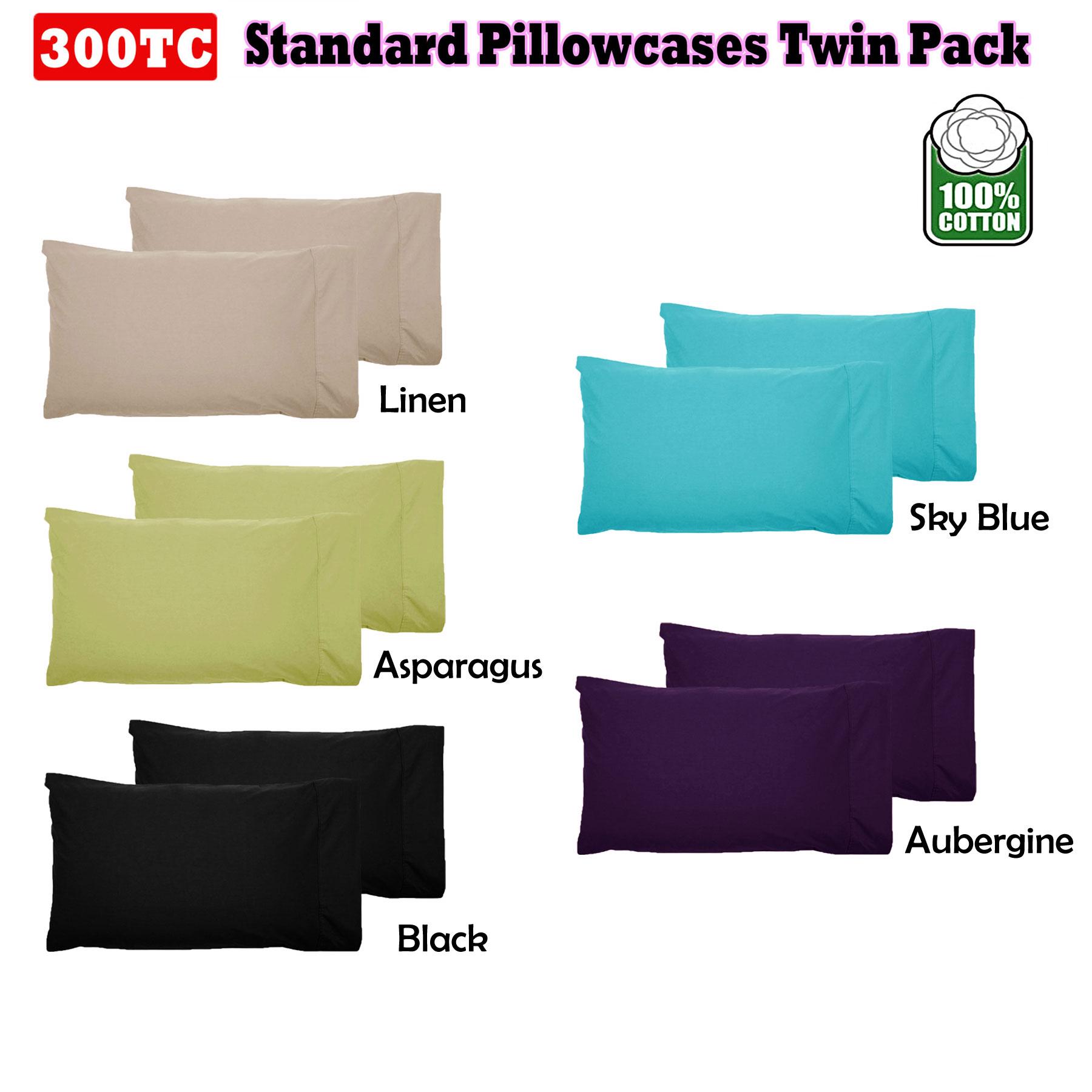 7 Color - Pair ( 2 ) of  100% Cotton & 300TC Standard Pillowcases 48cm x 73cm