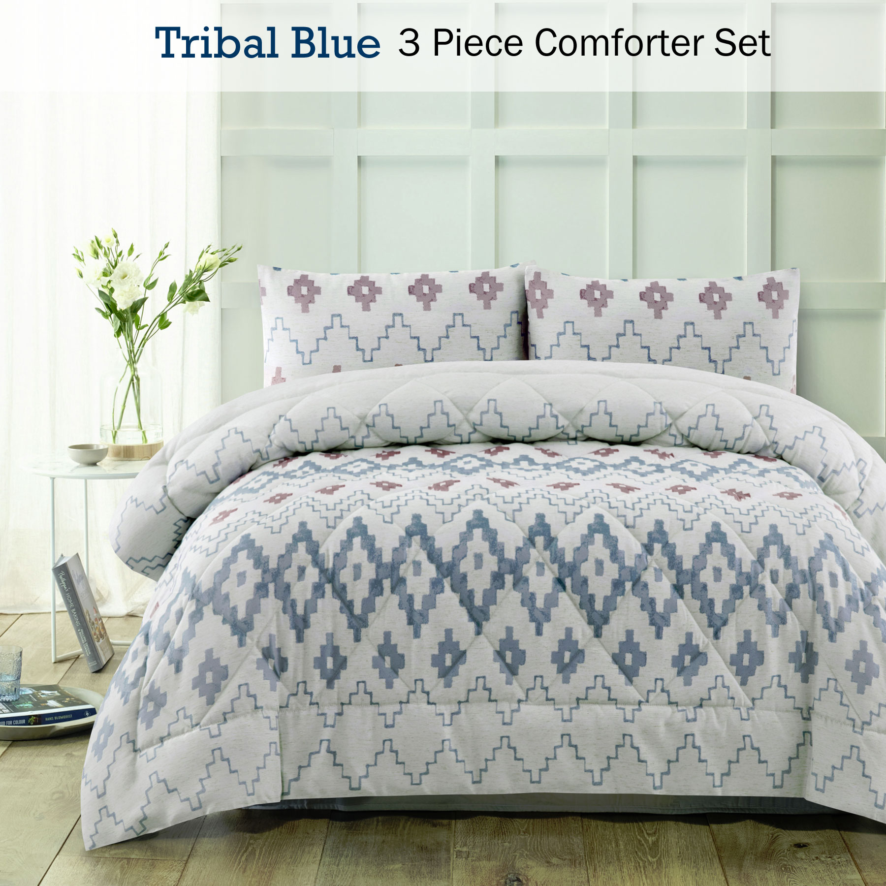 3 Piece Tribal Blue Comforter Set By Accessorize Queen King Ebay