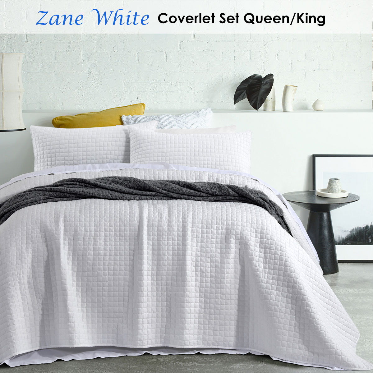 Zane White Coverlet Set Queen King By Accessorize 9330275071391 Ebay