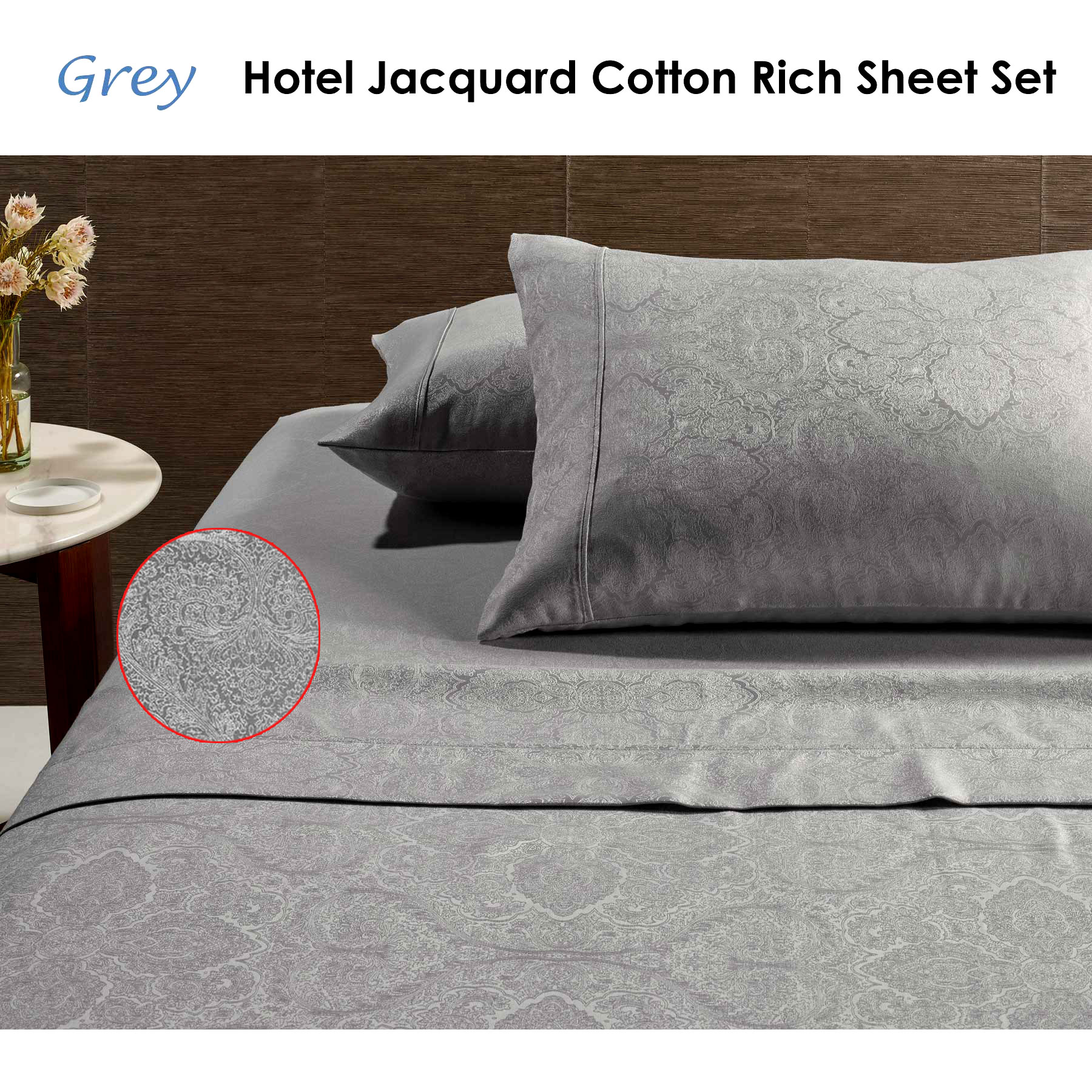 HOTEL 2000TC Cotton Rich Fitted Flat Sheet Set Pillowcases DOUBLE QUEEN KING