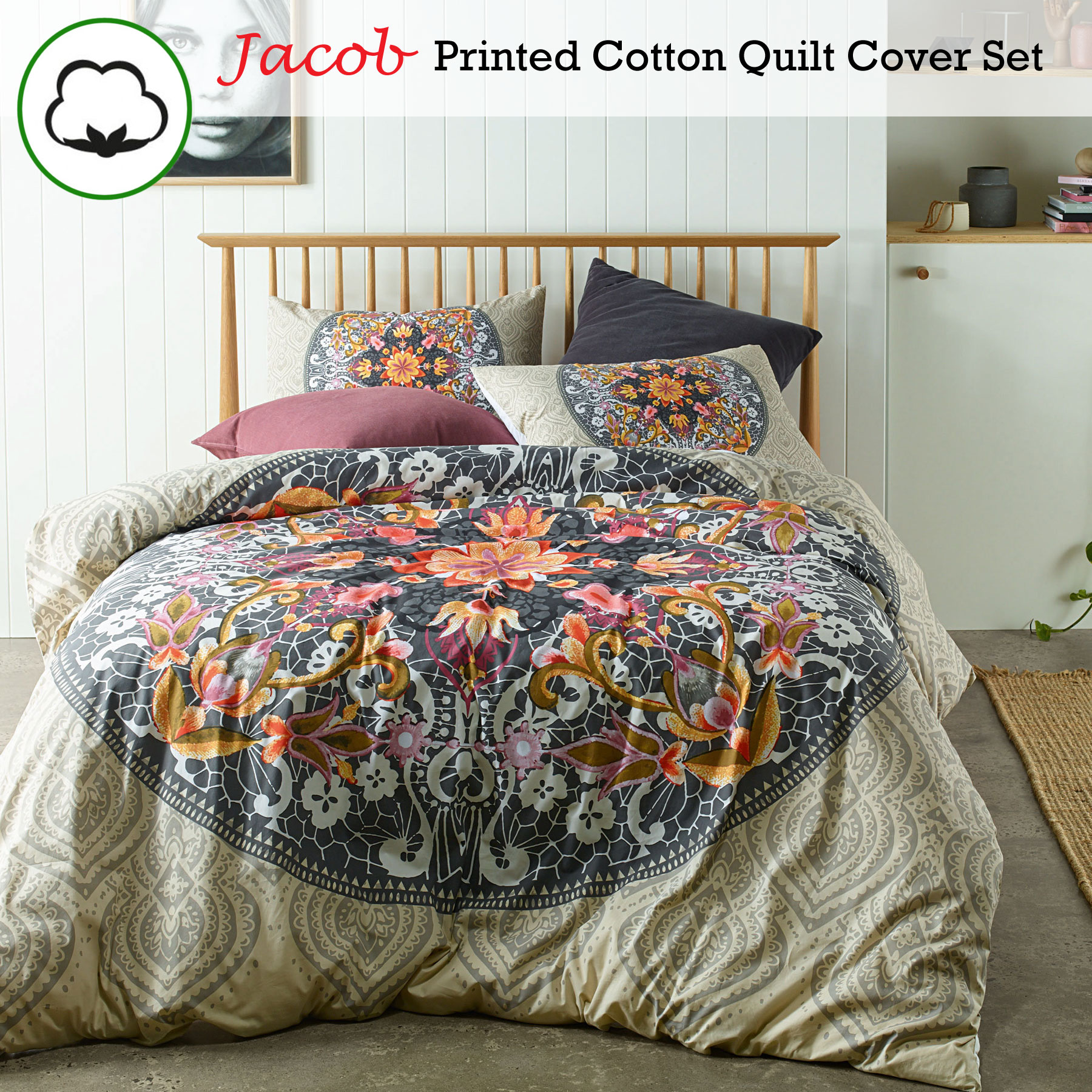 3 Pce 100 Cotton Jacob Neutral Quilt Doona Duvet Cover Set Queen