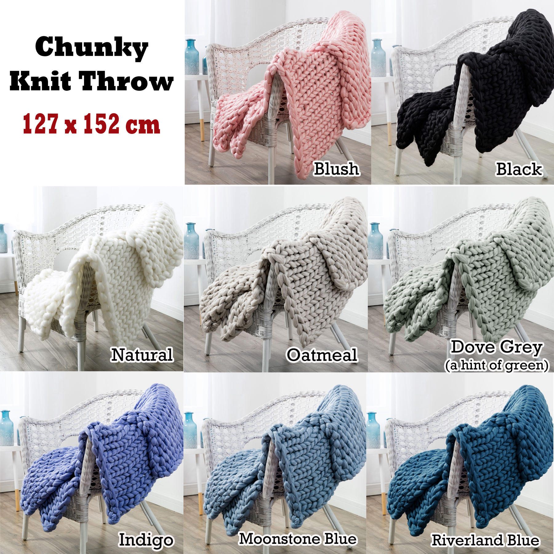 Acrylic Chunky Knit Sofa Lounge Bed Throw Rug Blanket Runner Ebay