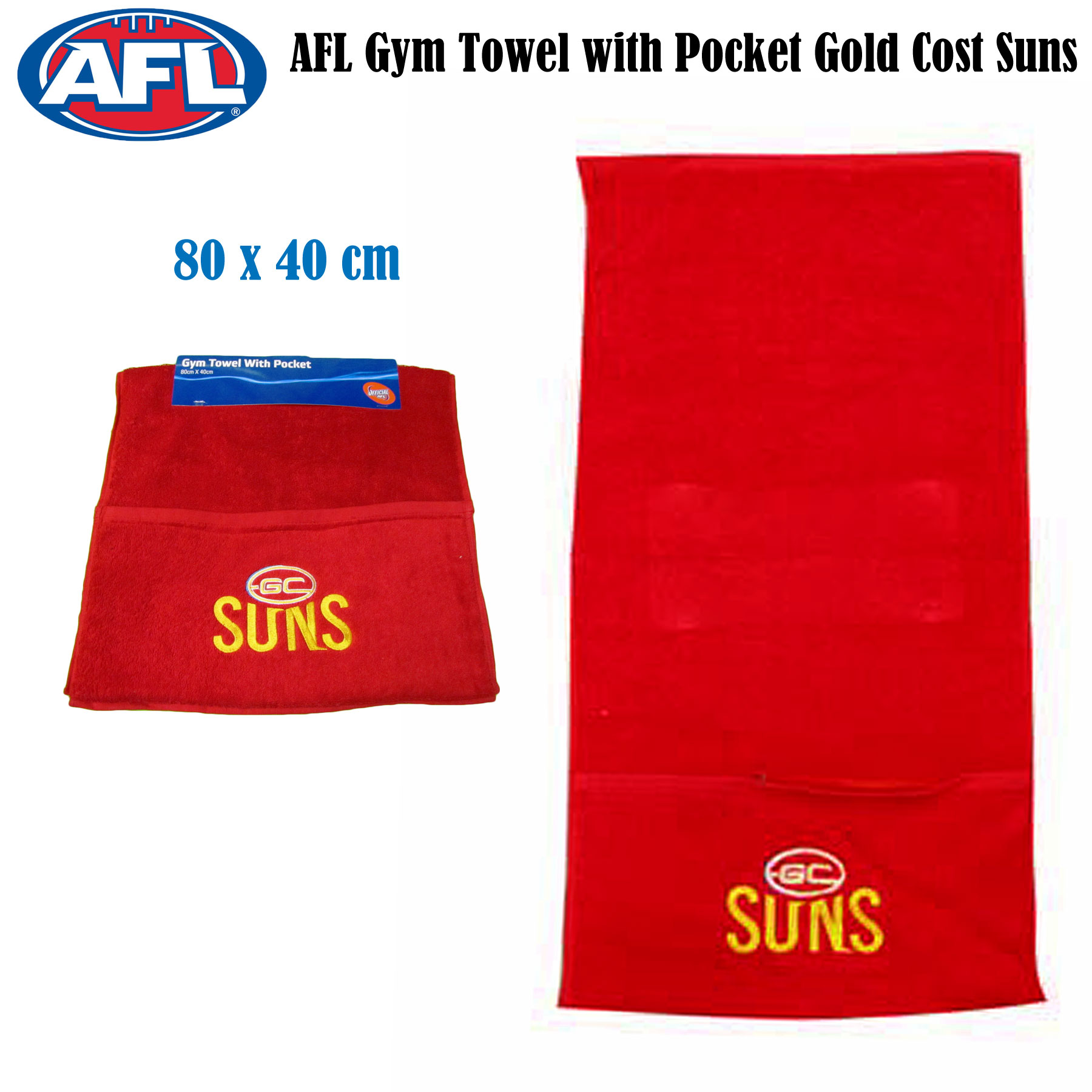 Exercise Towel With Pocket: AFL Gym Gold Coast Suns Gym Towel With Zip Pocket 40cm X