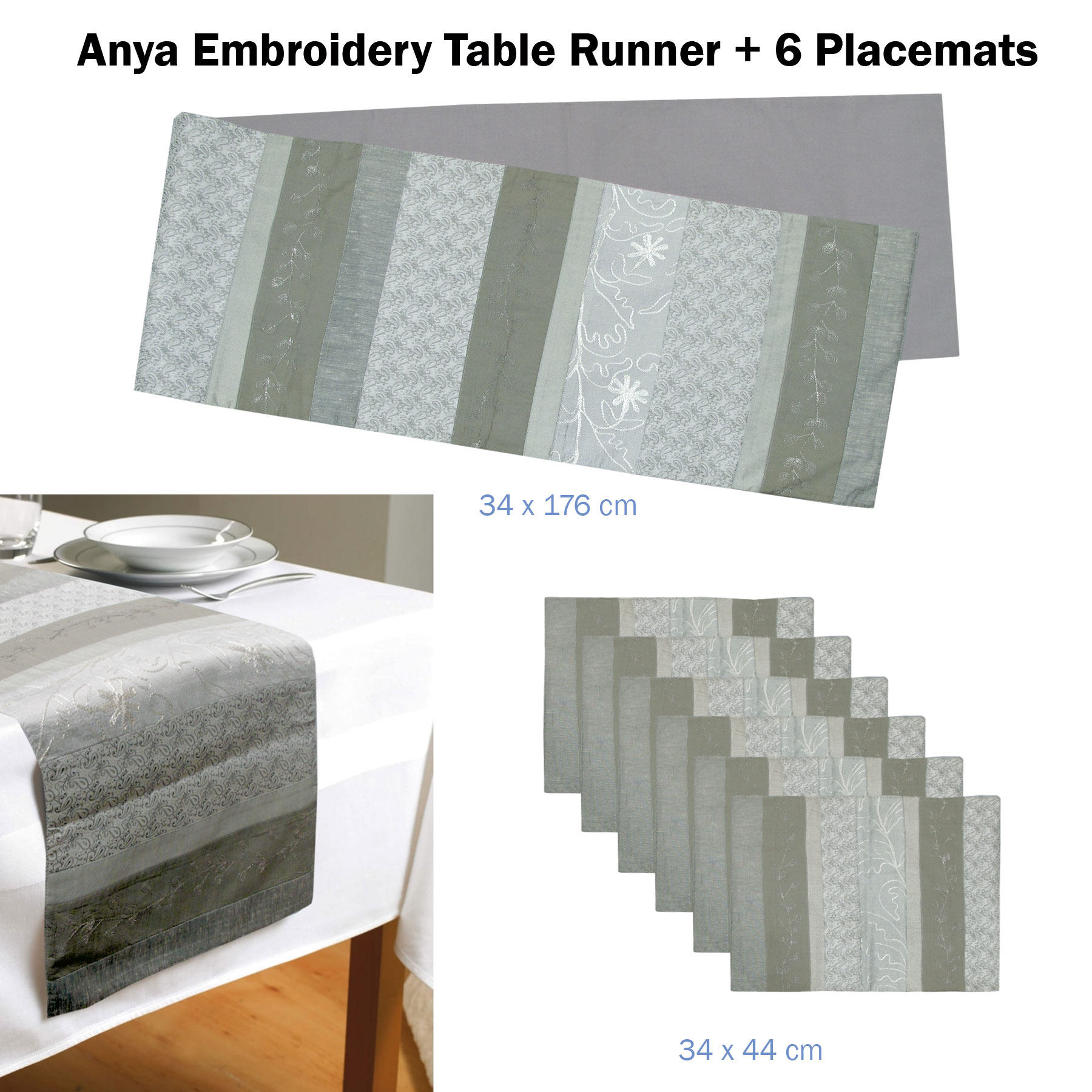 7 Piece Embroidery Silver Table Runner 34 X 176cm 6 Table