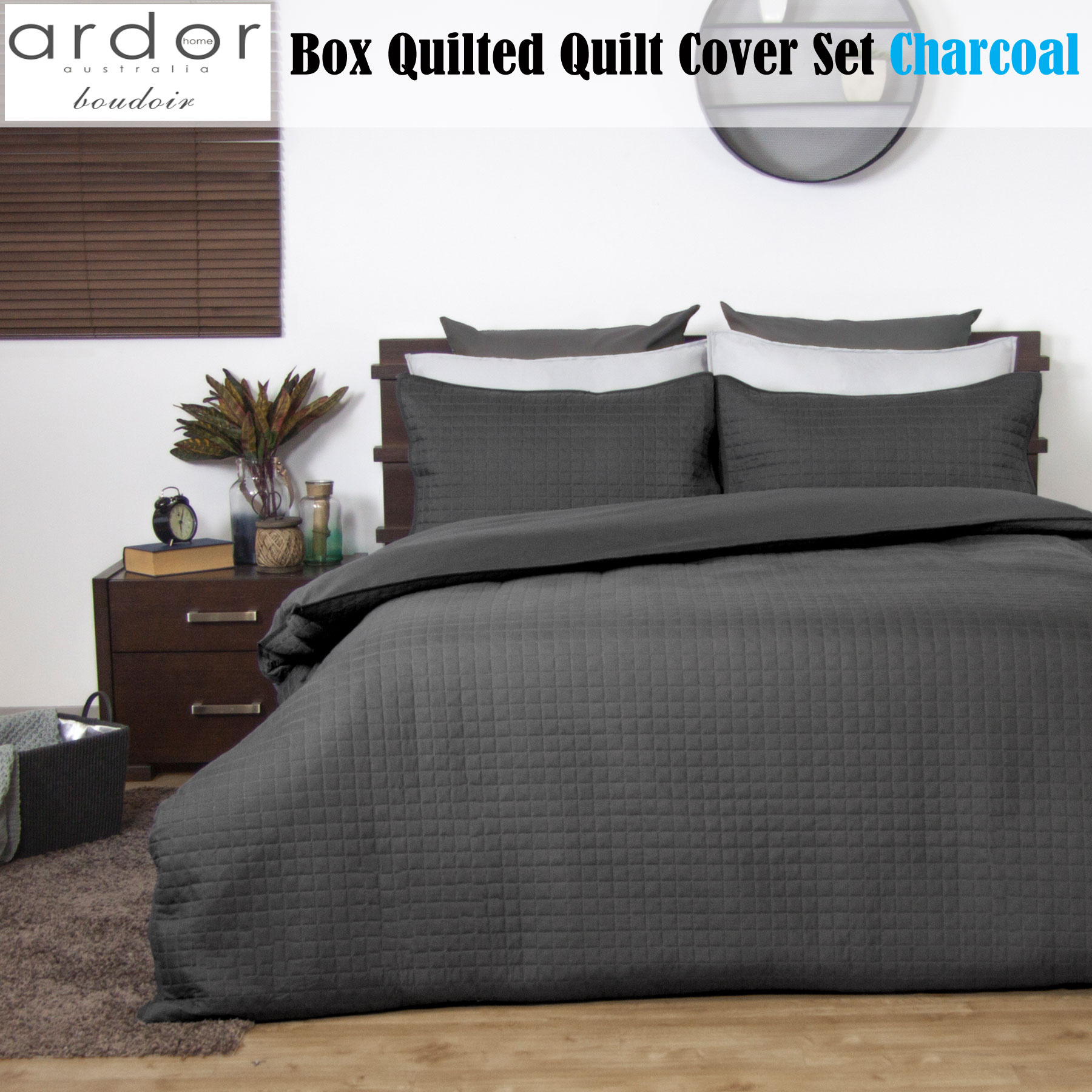 Boudoir Box Quilted Quilt Doona Duvet Cover Set Charcoal By Ardor