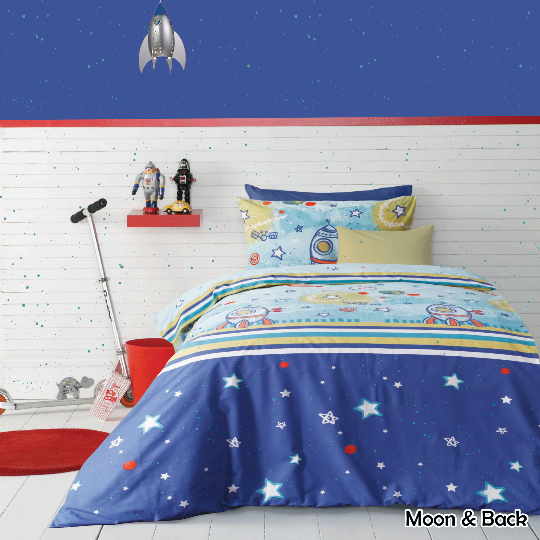 Kids children girls boys quilt cover set moon space by for Outer space fabric uk