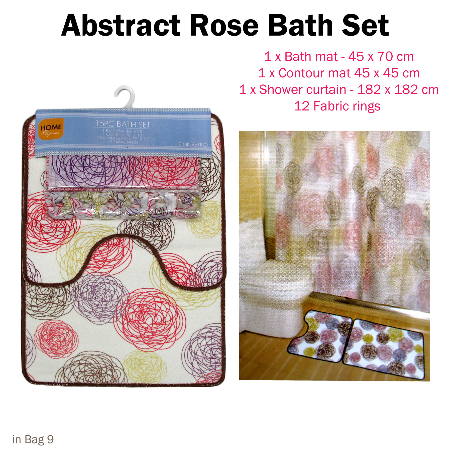 Details About 3 Pce Abstract Rose Bath Mat Contour Mat Shower Curtain With Rings