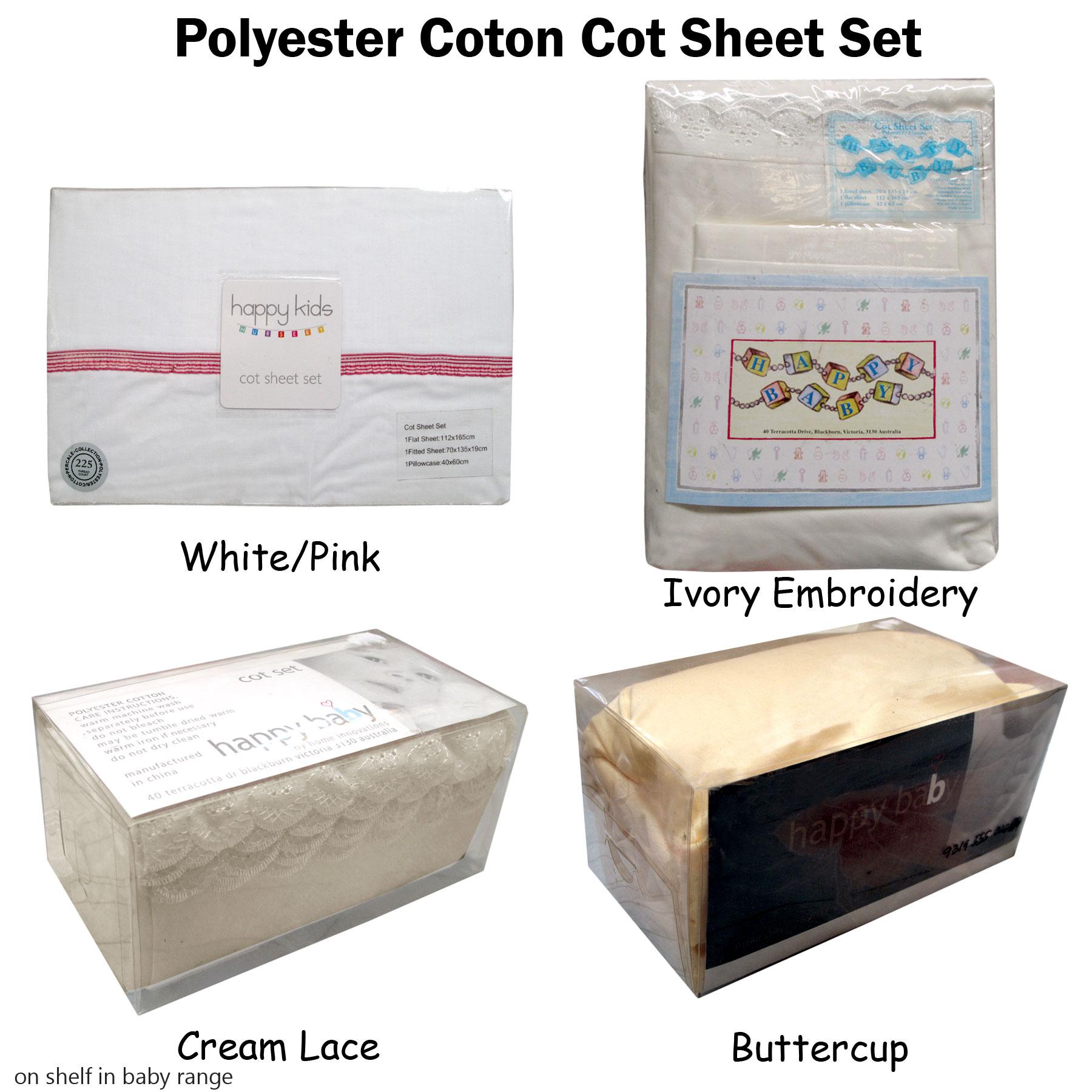 COT BED COTTON SHEET SET CREAM LACE DETAIL