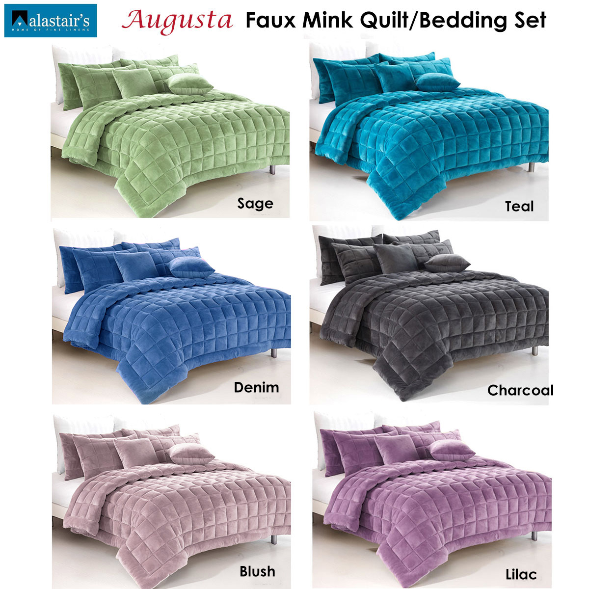 Augusta Faux Mink Quilt Comforter Set By Alastairs Ebay