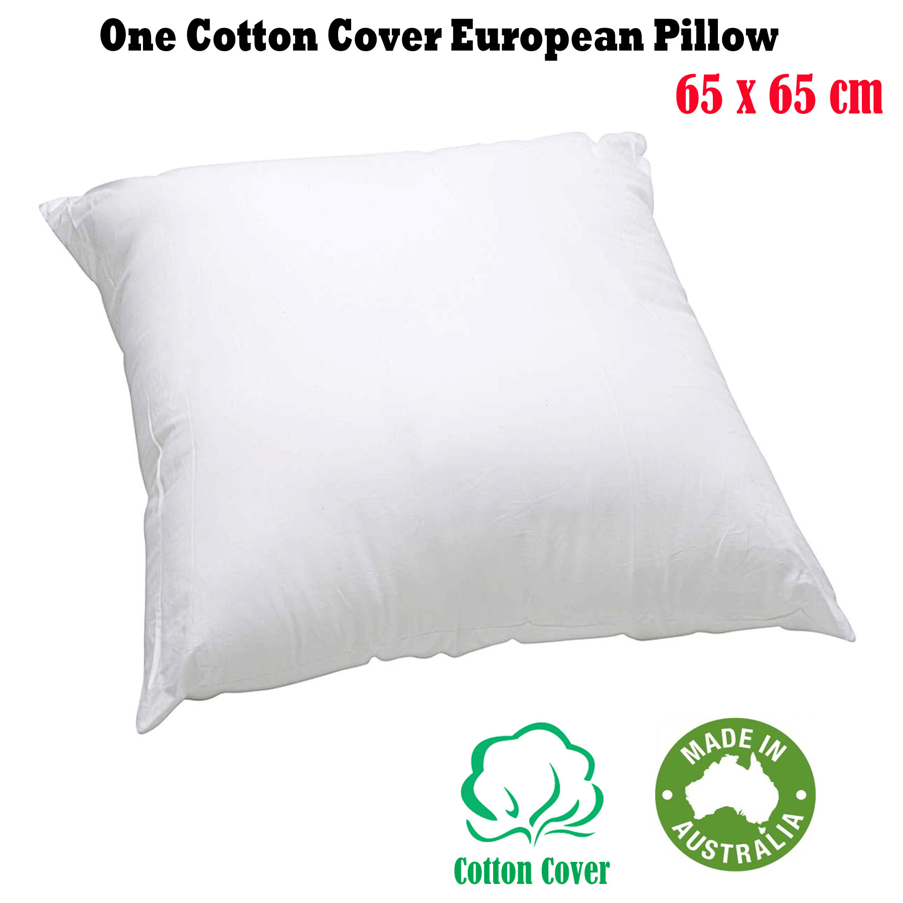 Cotton Throw Pillow Inserts : Made In Australia - EUROPEAN PILLOW INSERT Cotton Cover & Polyester Fill 65x65cm eBay