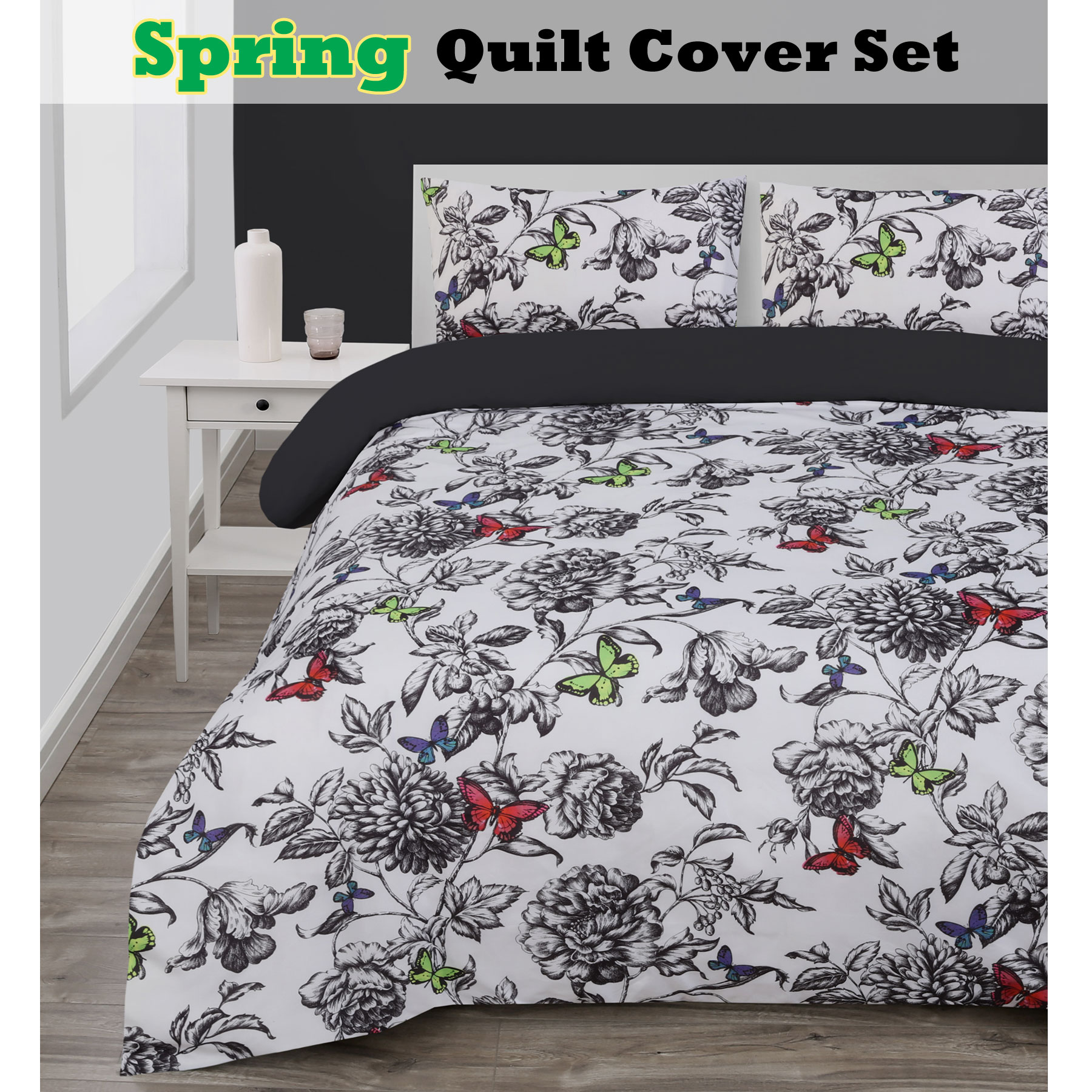 3 pce spring butterfly floral quilt doona duvet cover set queen king ebay. Black Bedroom Furniture Sets. Home Design Ideas