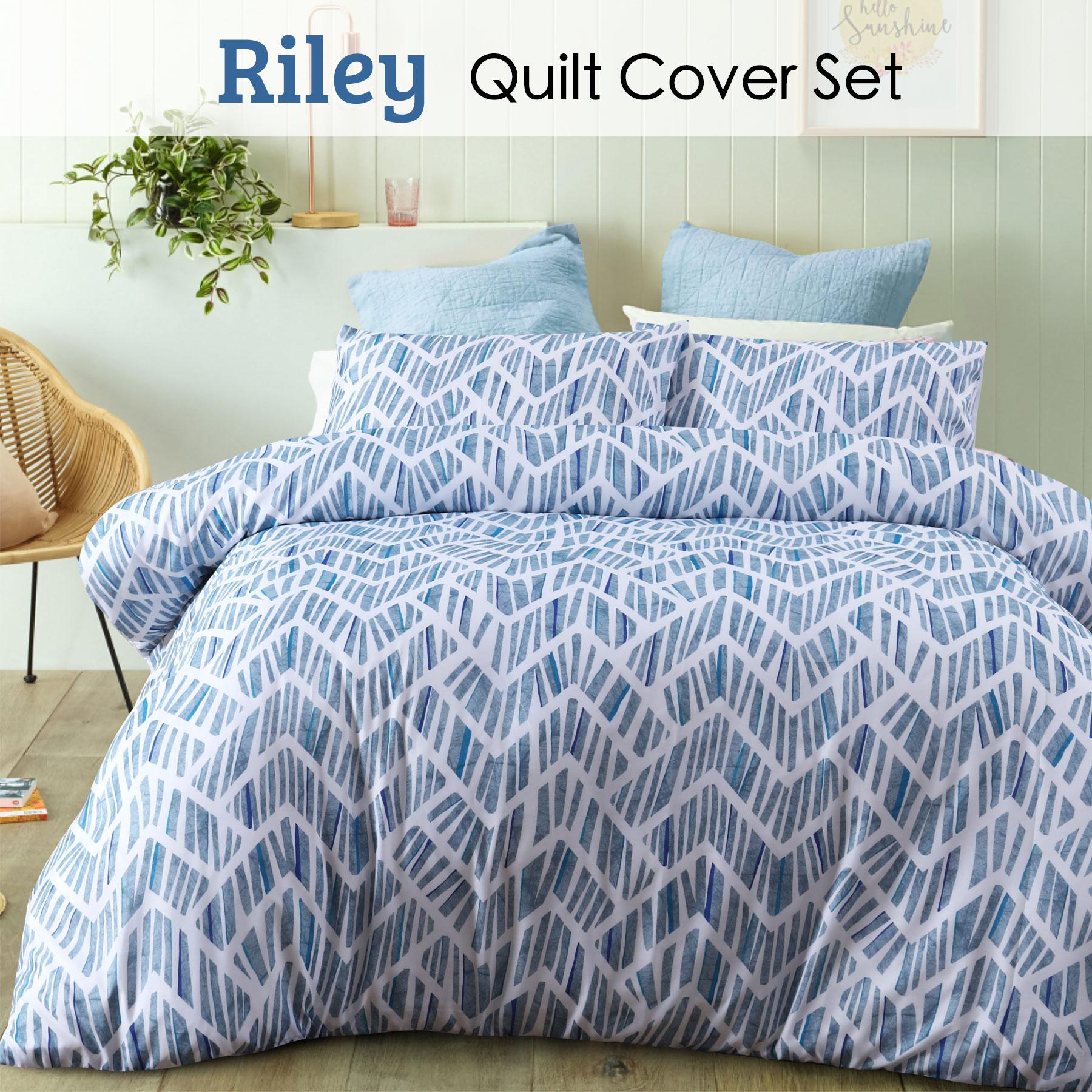 RILEY DUVET COVER SET LUXURY GEOMETRIC QUILT BEDDING BED LINEN PILLOWCASES SET