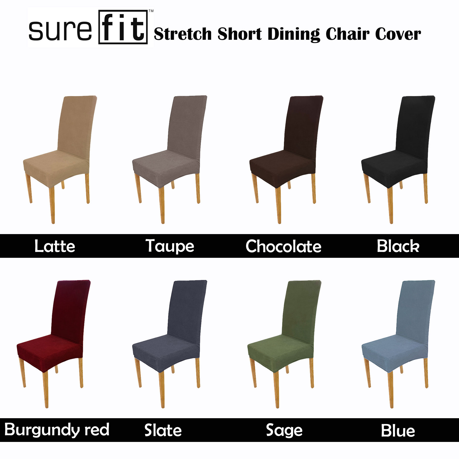 Sensational Details About Color Choice Surefit Stretch Short Corduroy Dining Chair Cover Machine Washable Uwap Interior Chair Design Uwaporg