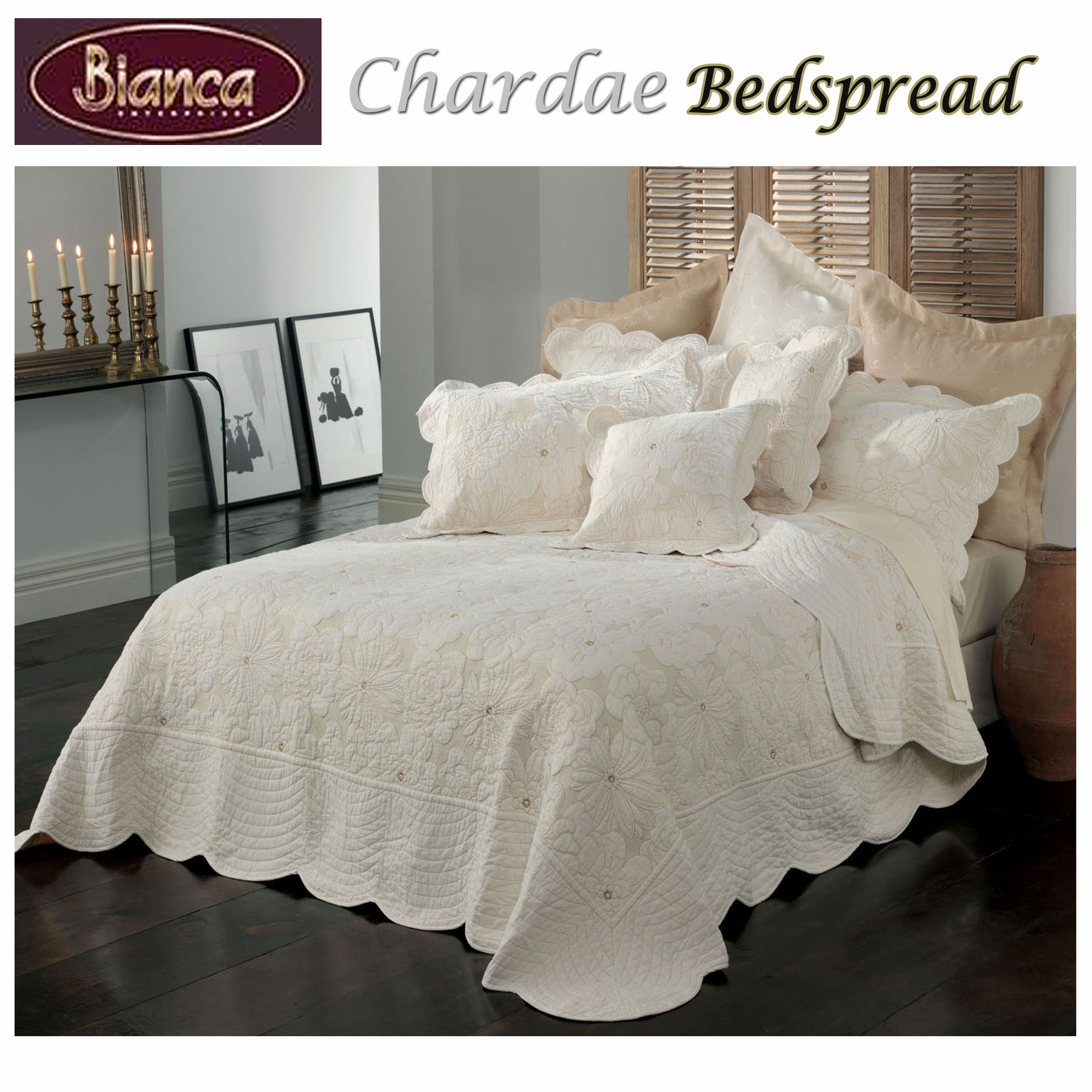 Good 100% Cotton Chardae Ivory Bedspread + P/cases SINGLE King Single DOUBLE  QUEEN KING