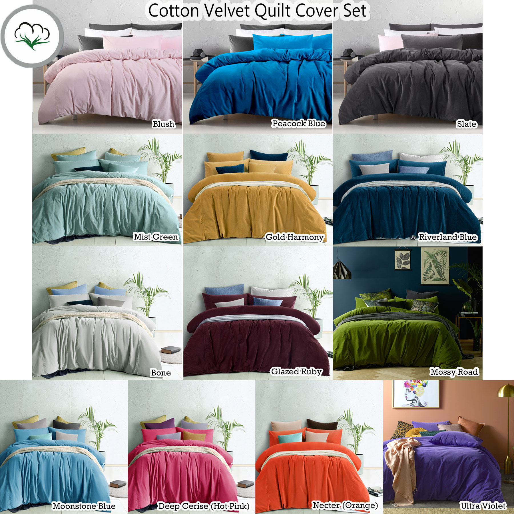 Cotton Velvet Quilt Doona Duvet Cover Set By Accessorize Queen King Super