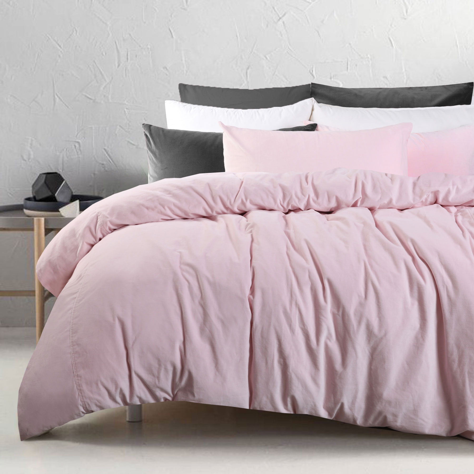 3 Pce Cotton Velvet Blush Quilt Doona Duvet Cover Set Queen King Super