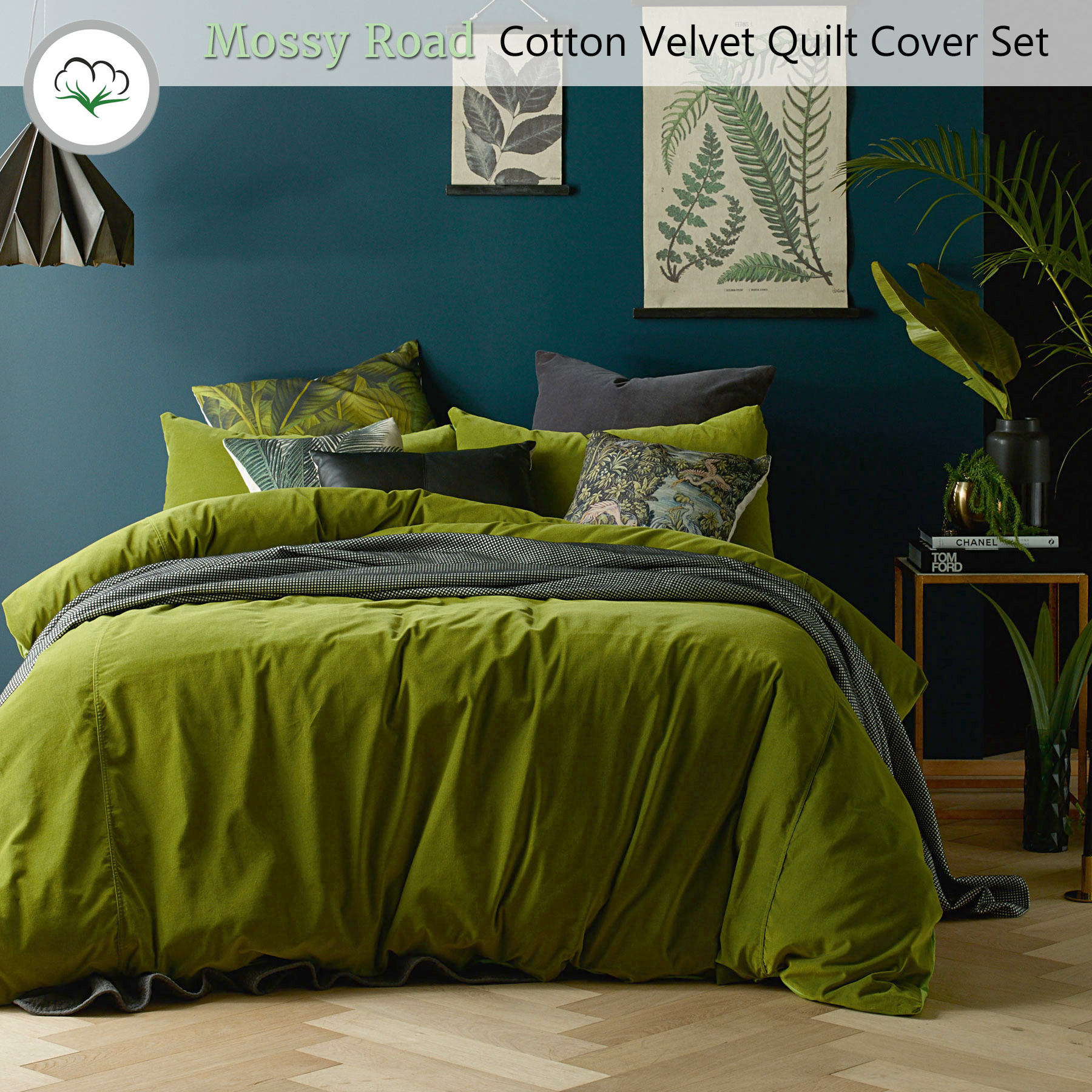 Mossy Road Cotton Velvet Quilt Cover Set Or Eurocases