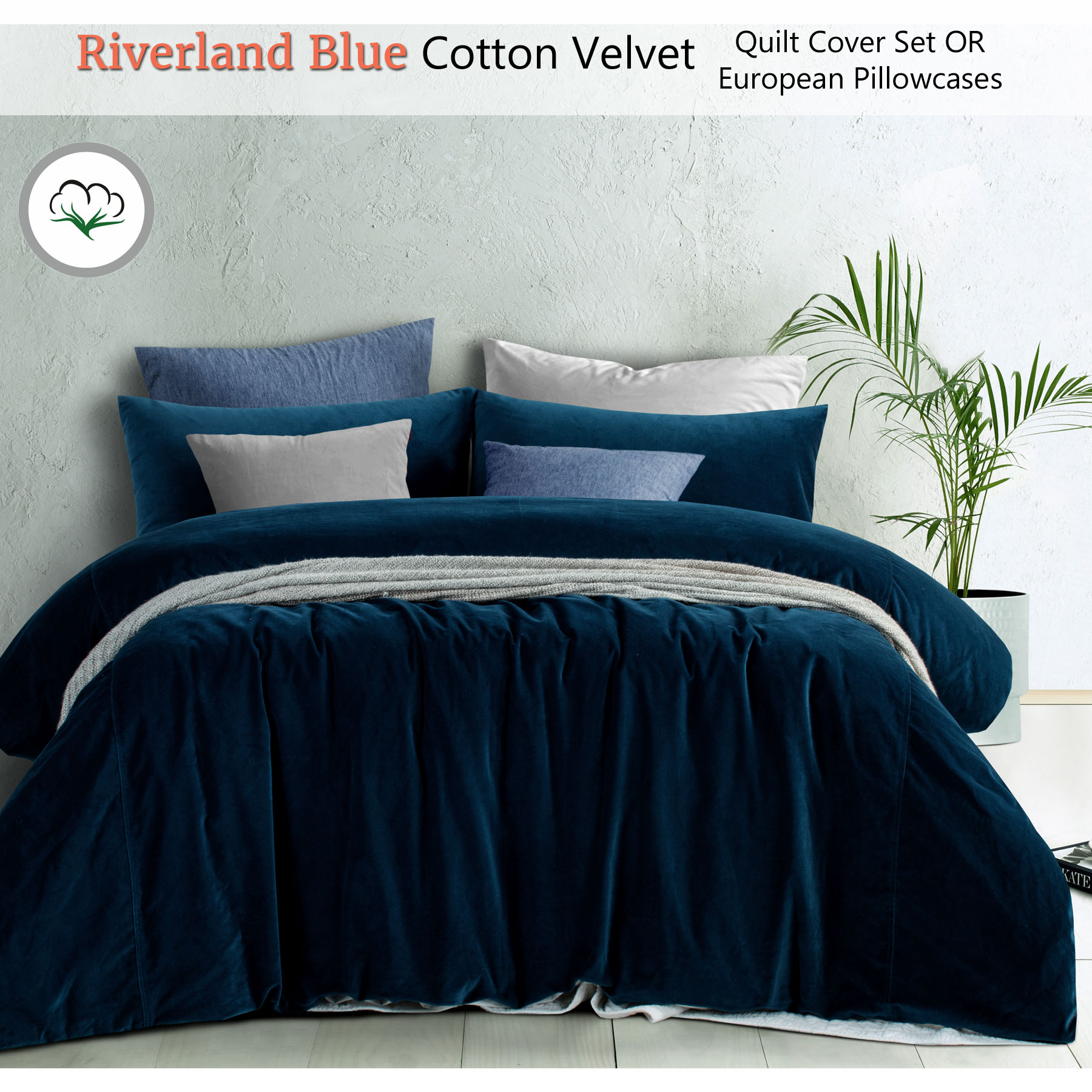 Before And After Merging Two Rooms Has Created A Super: Riverland Blue Cotton Velvet Quilt Cover Set OR Eurocases