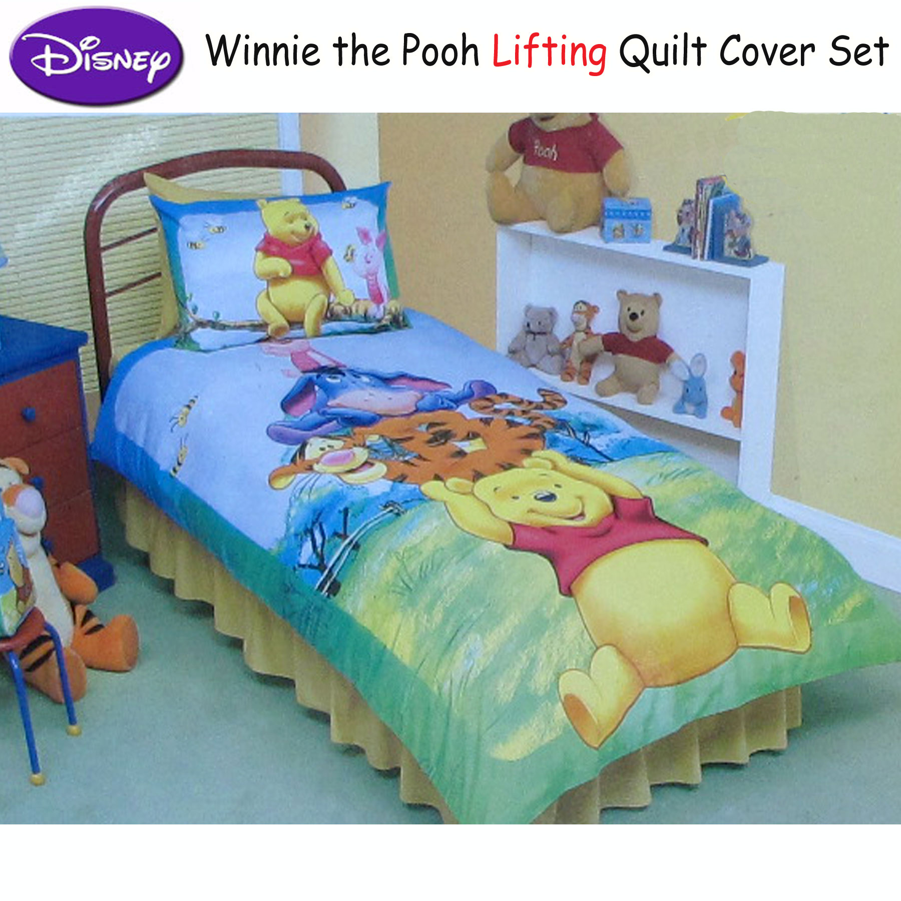 GENUINE DISNEY WINNIE THE POOH SINGLE BED DUVET COVER PILLOWCASE SET 100/% COTTON