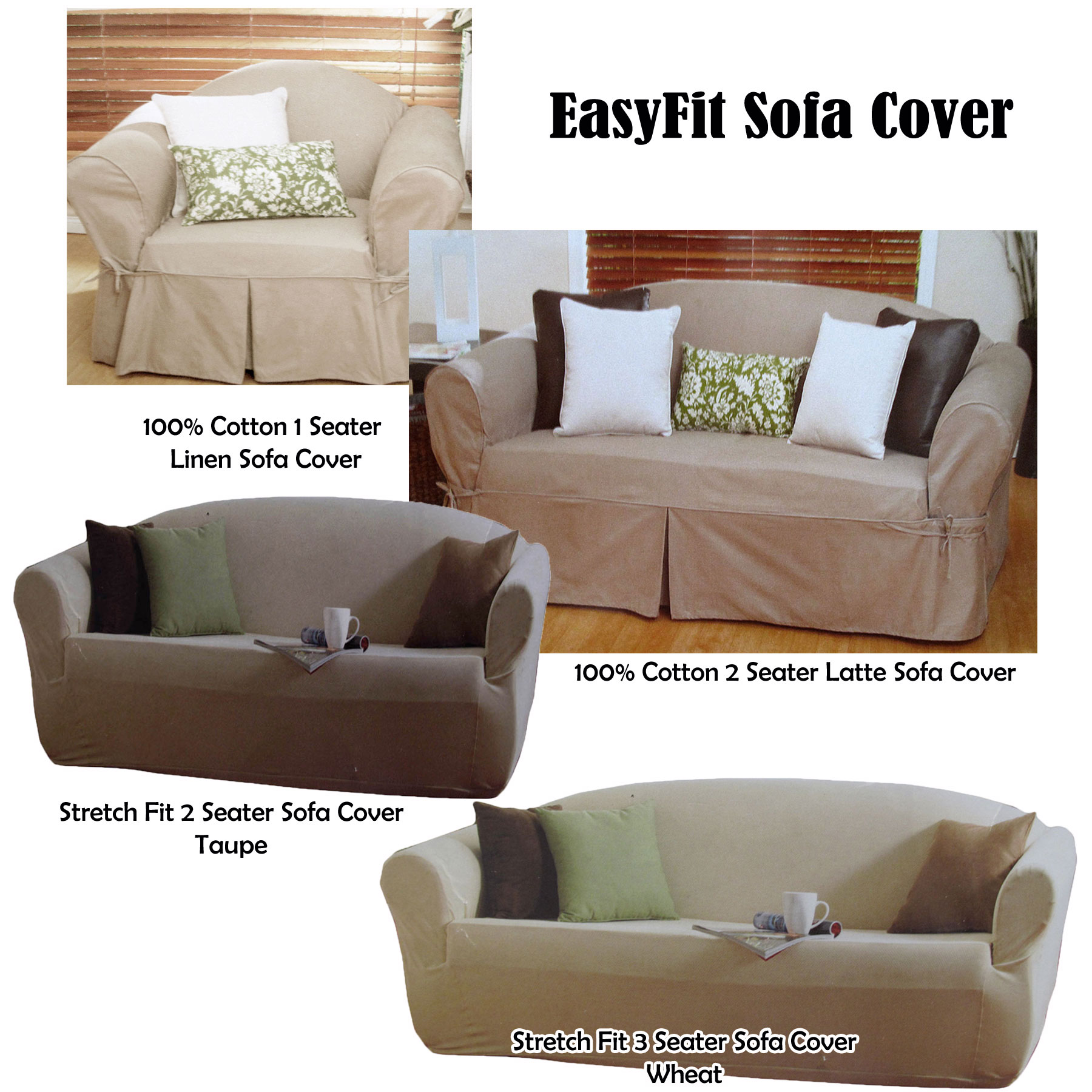 Details about 1 to 2 Seater OR 2 to 3 Seater Sofa Couch Cover - Cotton OR  Polyester