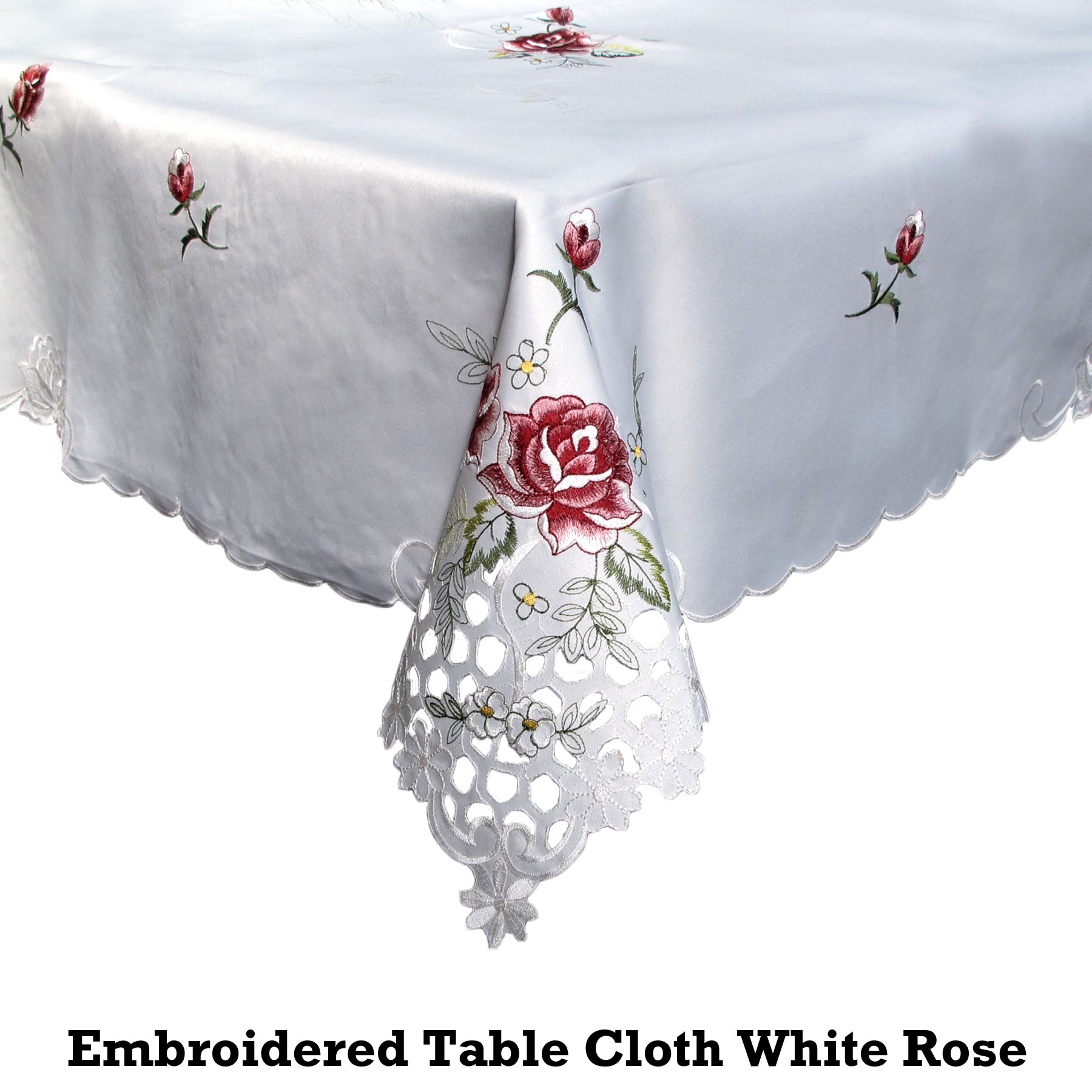 Embroidered table cloth white rose cutwork
