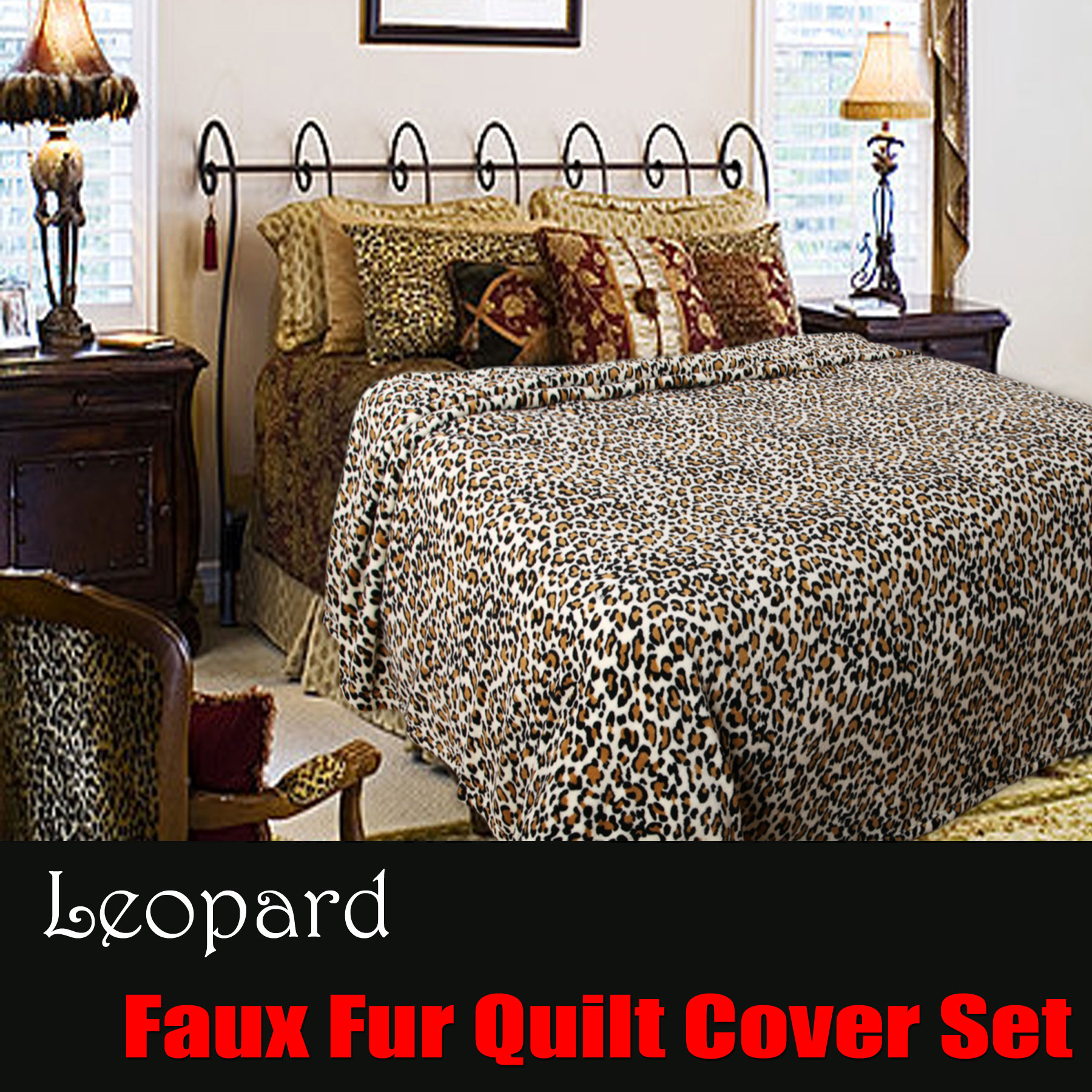 Leopard Printed Faux Fur Animal Quilt Cover Set DOUBLE QUEEN KING ... : leopard quilt cover set - Adamdwight.com