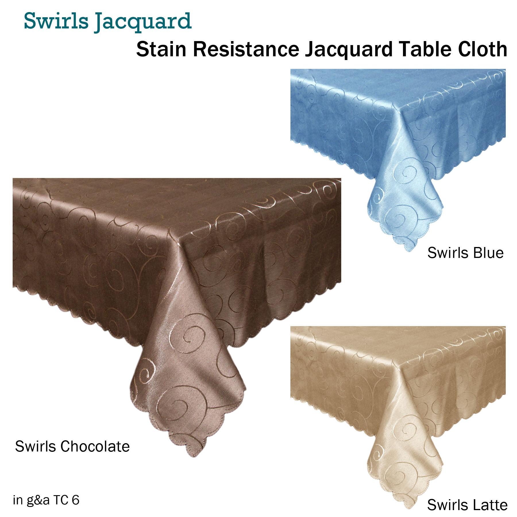 New LADELLE Regal Beige JACQUARD Tablecloth 150cm x 255cm 6-8 Seaters
