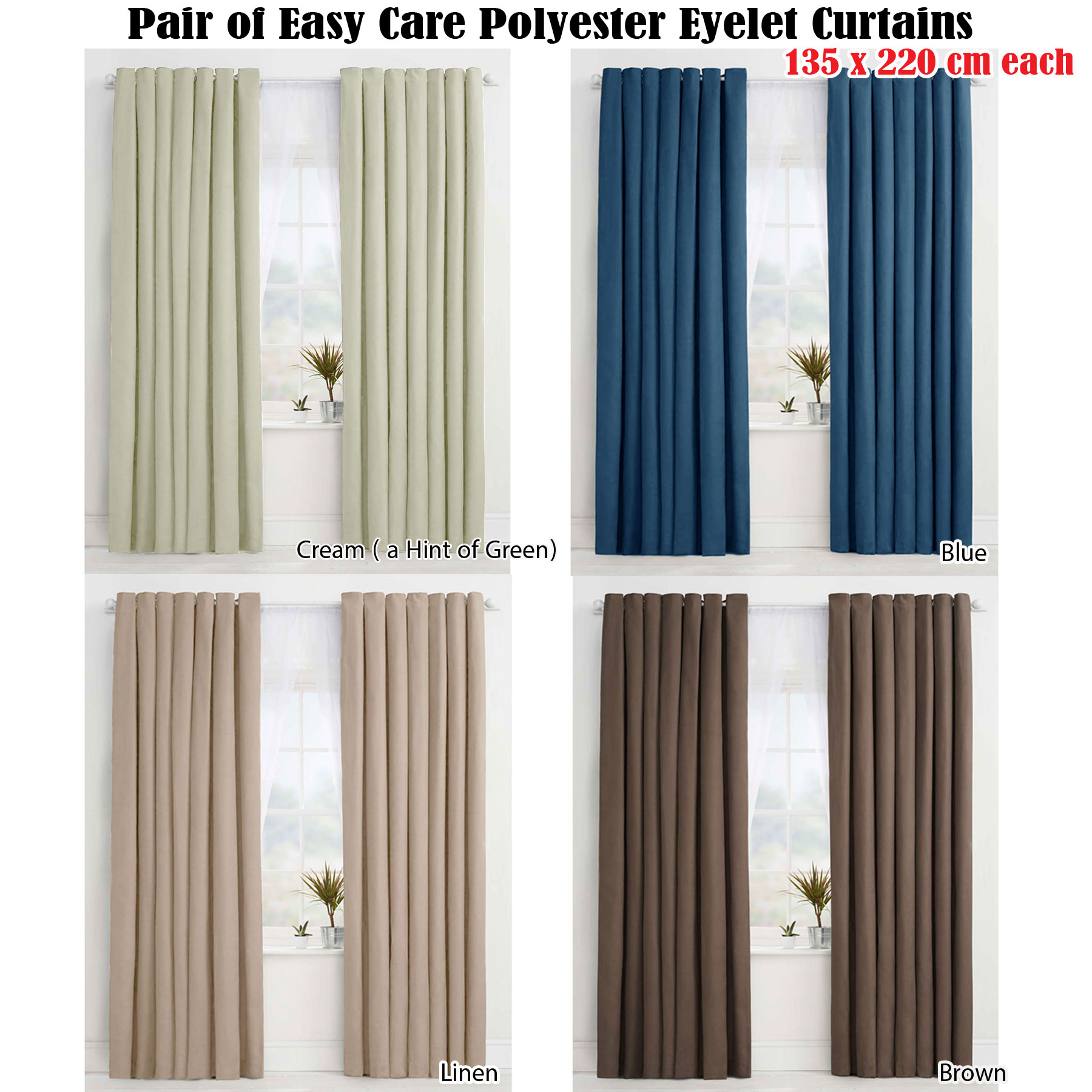 Details About Pair 2 Panels Of Eyelet Curtains Choice Cream Blue Linen Brown