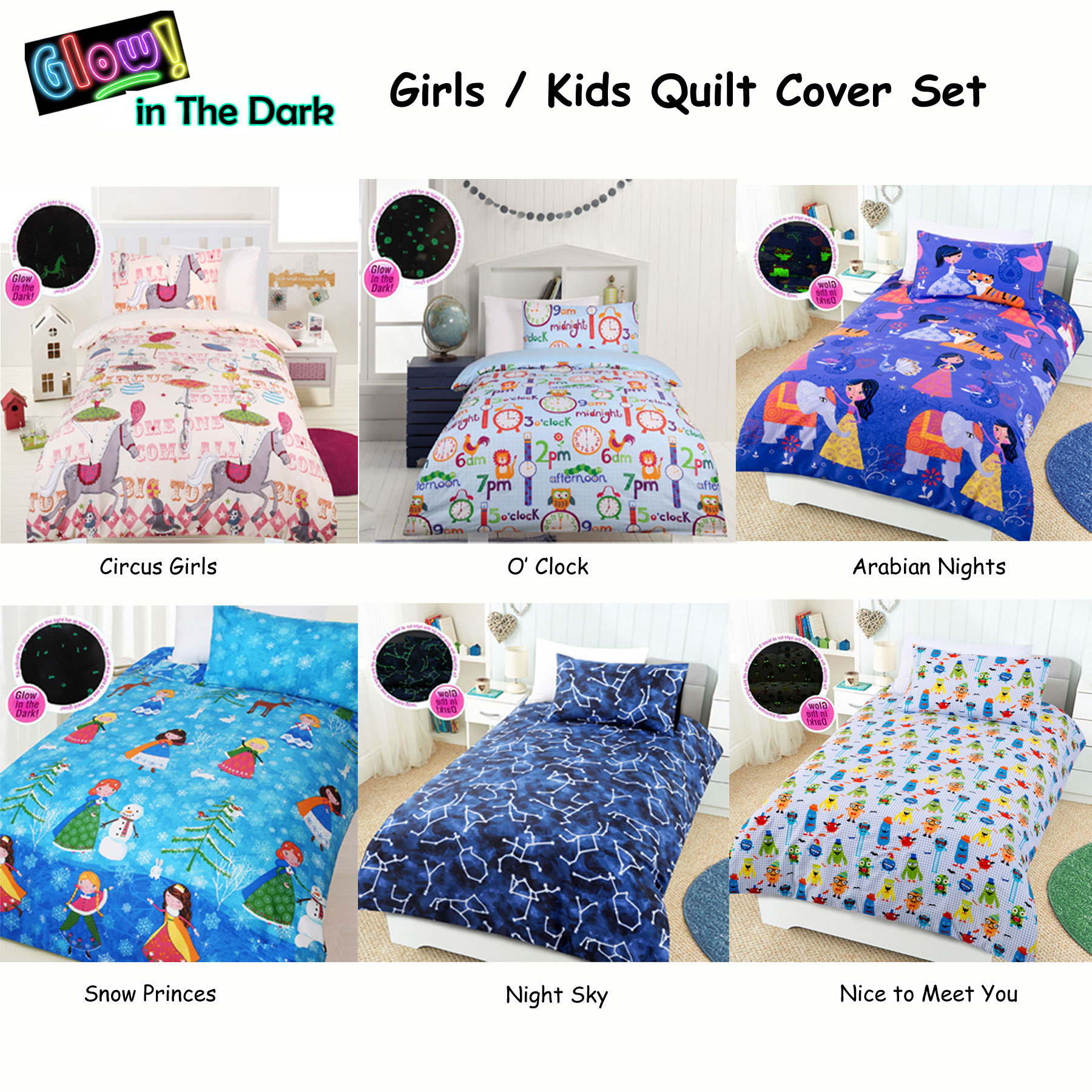 Glow in The Dark Girls/Kids Quilt Cover Set by Happy Kids - SINGLE ... : kids quilt - Adamdwight.com