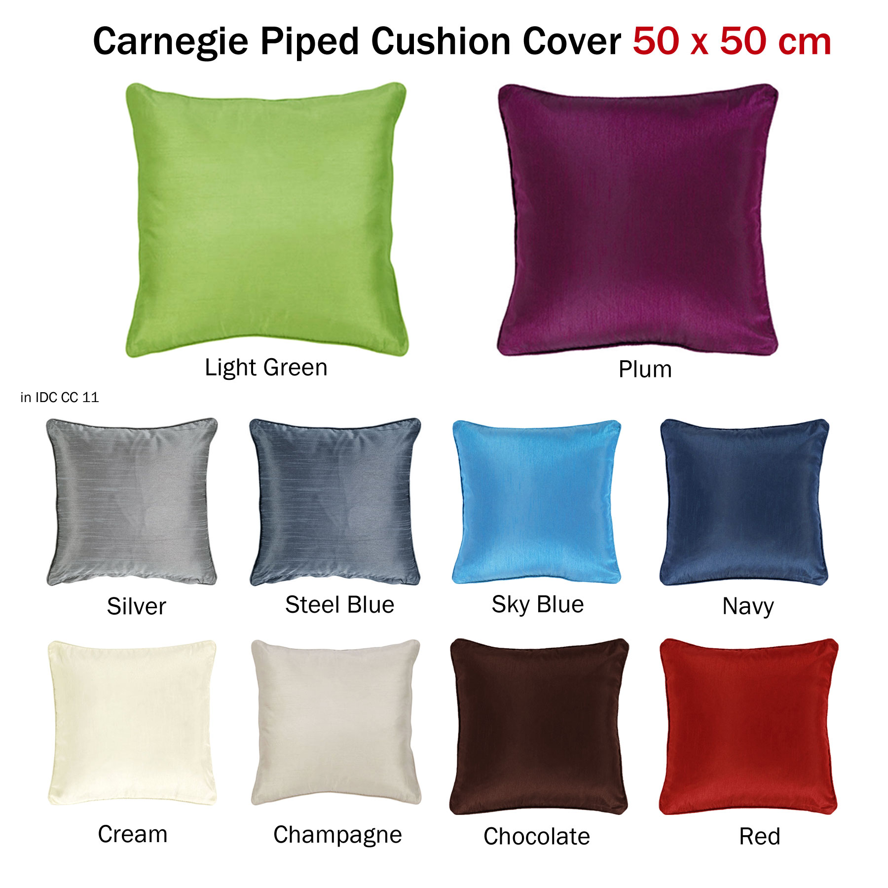 Carnegie Faux Silk Large Piped Cushion Cover 50 X 50 Cm Ebay
