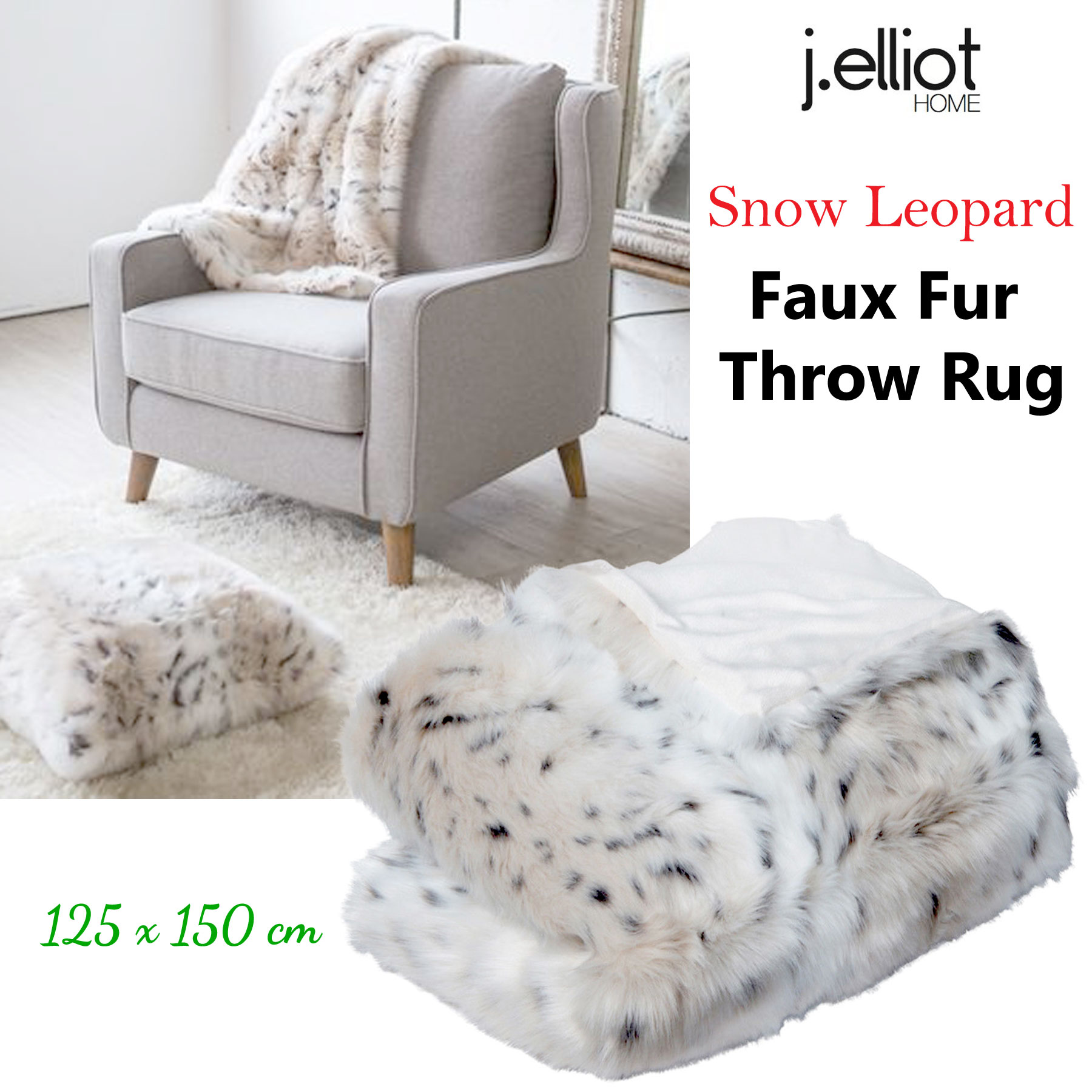 Details About Luxury Faux Fur Lounge Sofa Throw Blanket Rug Cream Snow Leopard 125 X 150 Cm By