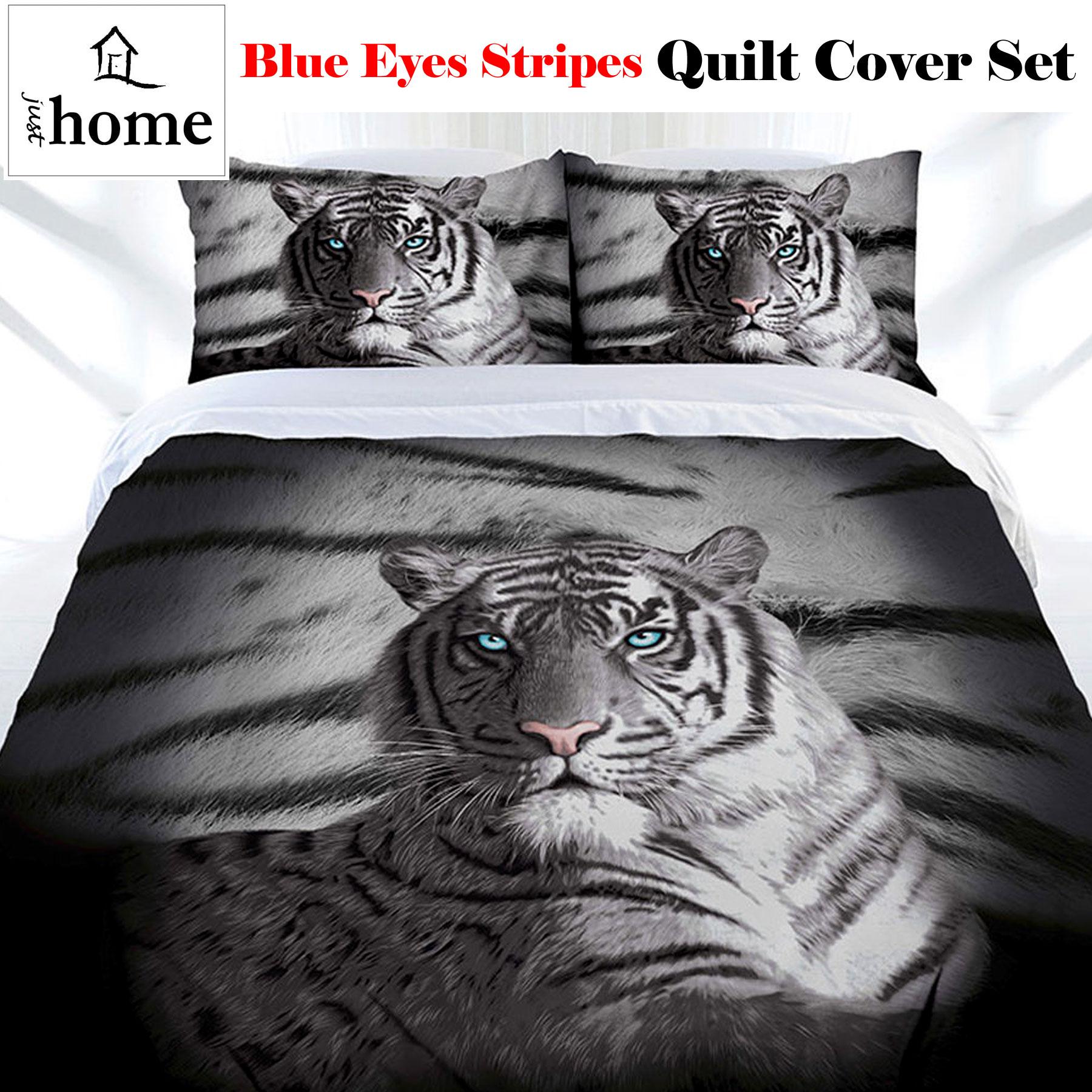 Blue Eyes Stripes Tiger Quilt Doona Duvet Cover Set SINGLE DOUBLE QUEEN KING