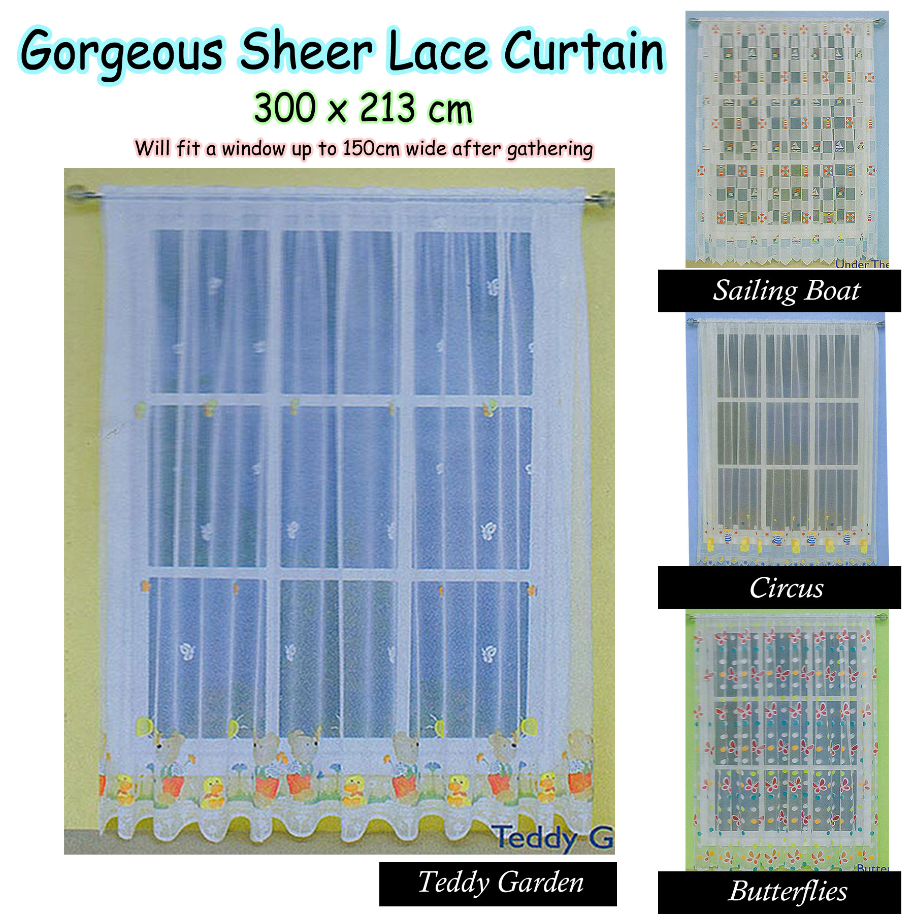 Gorgeous children kids boys girls baby nursery sheer lace for Curtain fabric for baby nursery