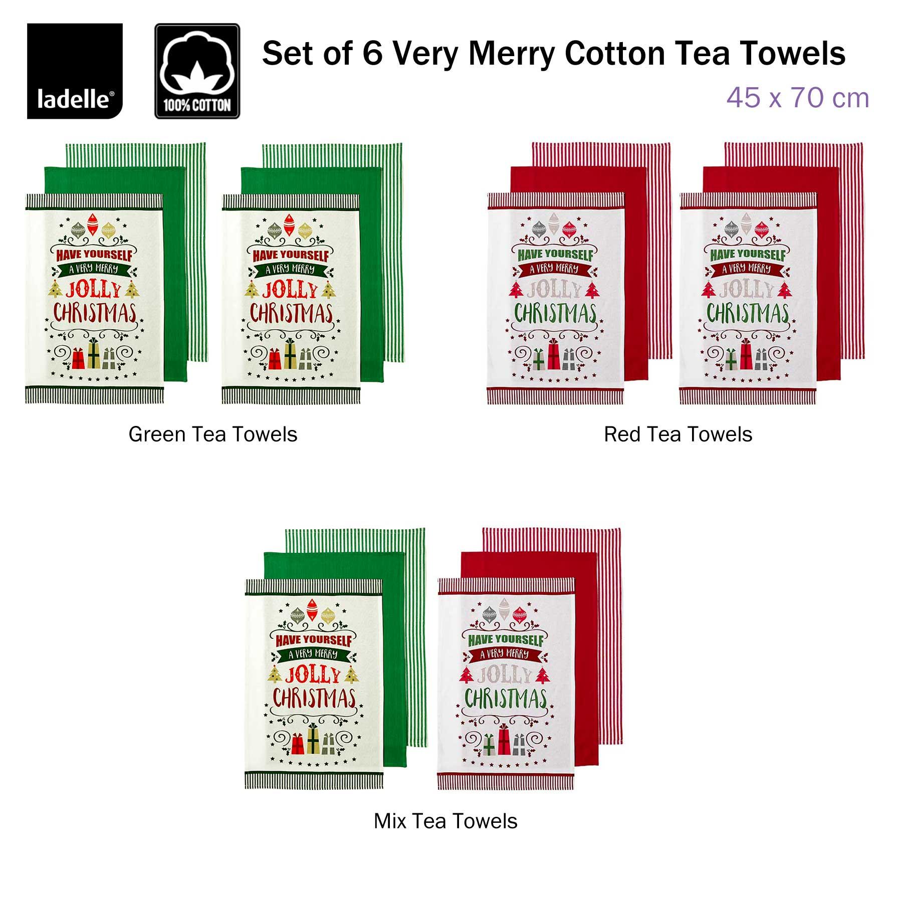 Ladelle Christmas Brick 100/% Cotton Kitchen Tea towels Set of 6 4 Designs