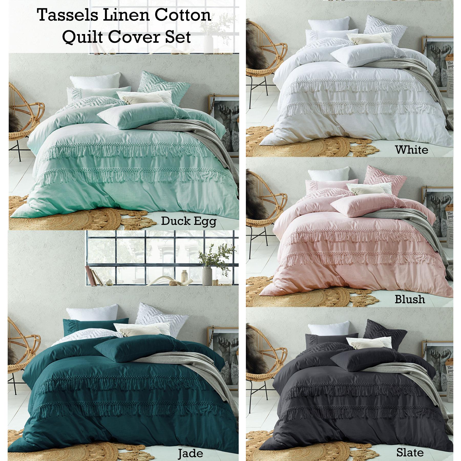 Tassel Linen Cotton Quilt Duvet Doona Cover Set Double Queen King Super King Ebay