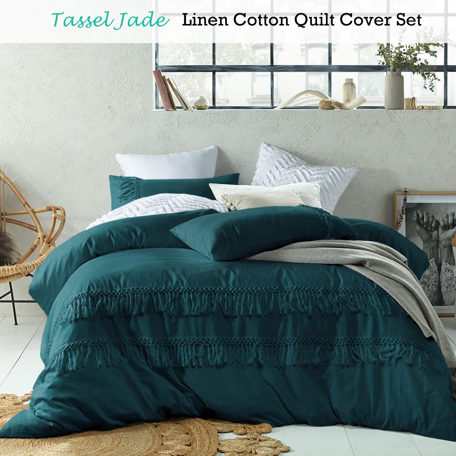 bb7ff7add3ad Details about Tassel JADE Linen Cotton Quilt Duvet Cover Set - DOUBLE QUEEN  KING Super King