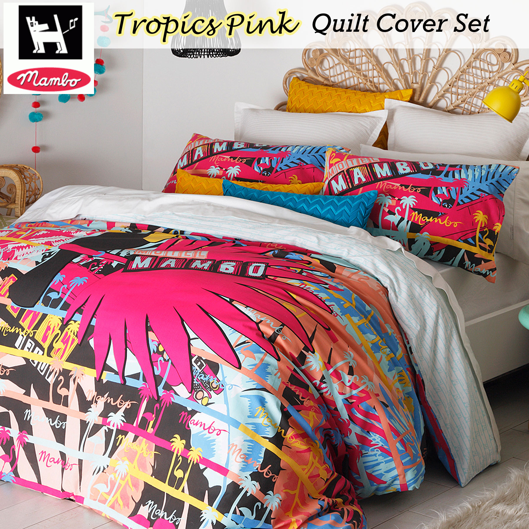 Tropics Pink Surf Quilt DUvet Doona Cover Set by Mambo - SINGLE ... : surf quilt cover - Adamdwight.com
