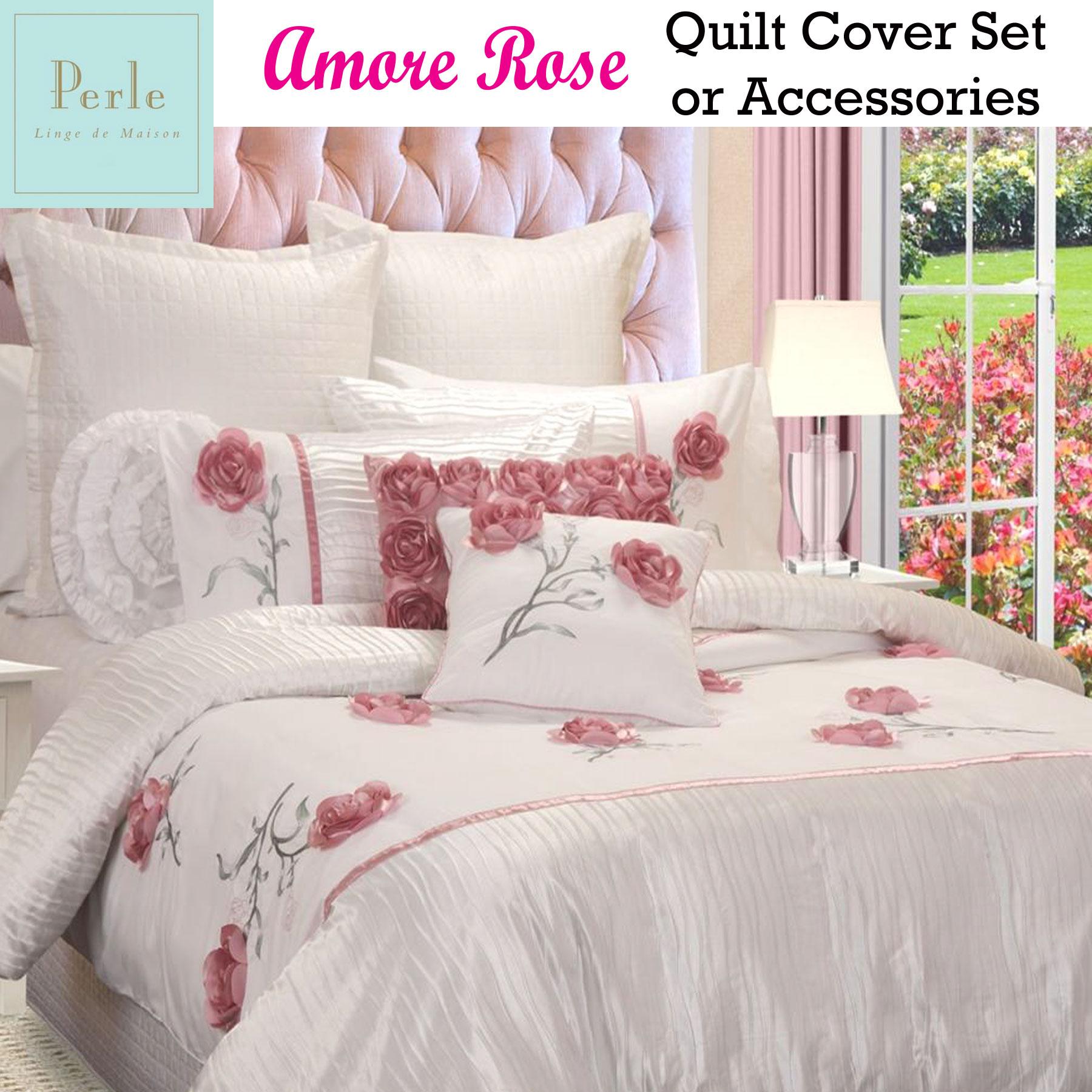 Amore rose white applique quilt cover set or accessories perle linge de maison