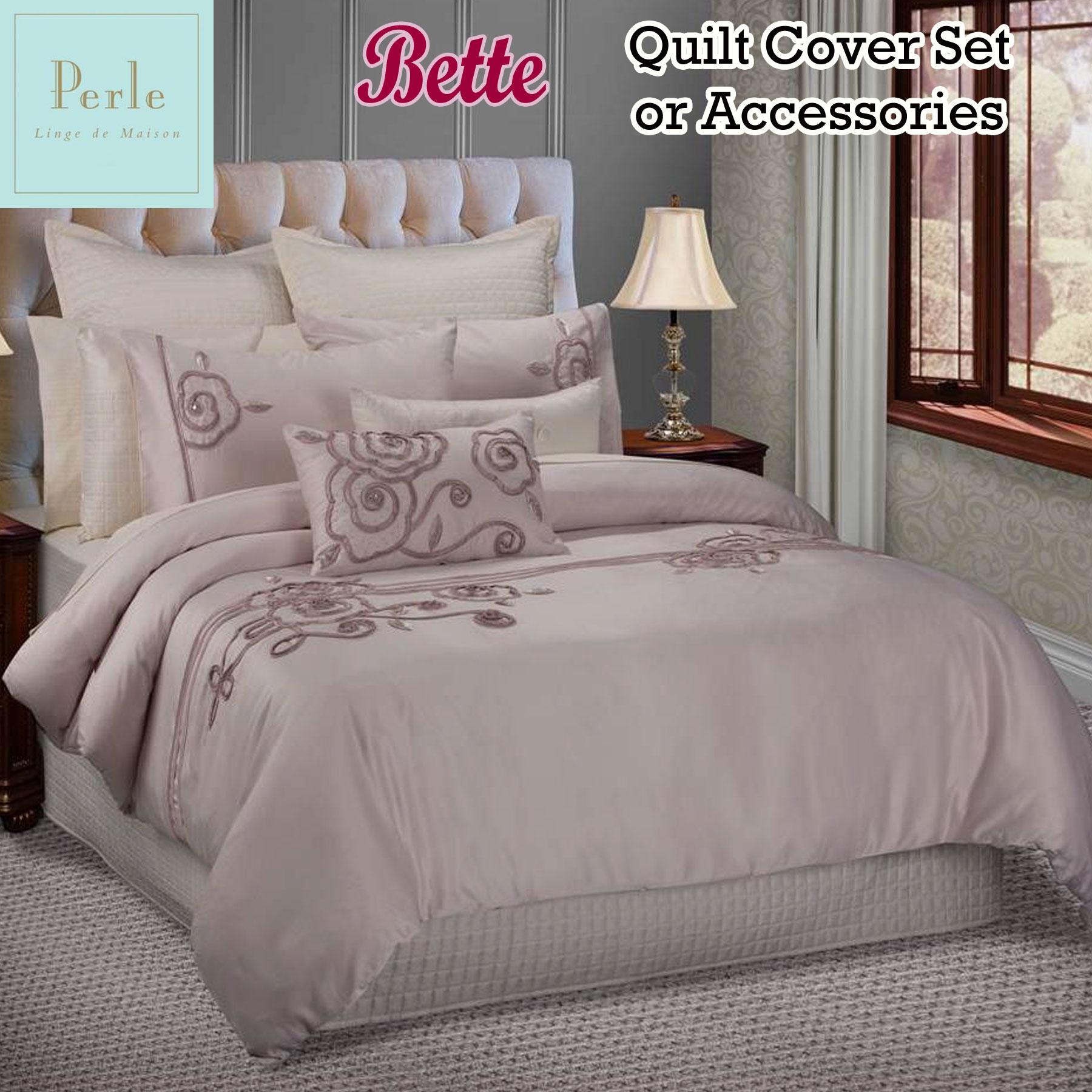 Bette blush quilt cover set or accessories by perle linge de maison