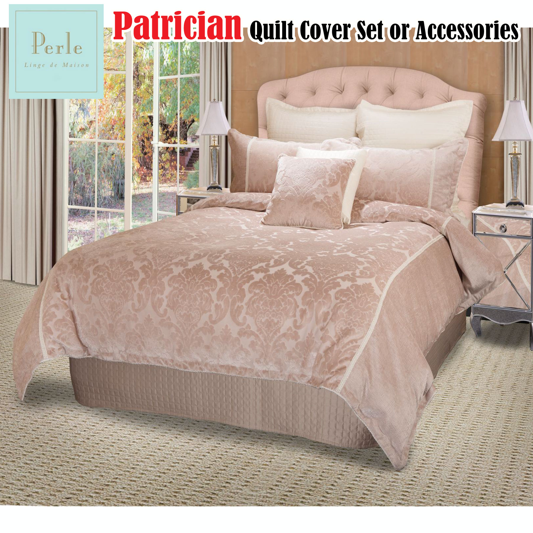 Patrician Blush Damask Quilt Cover Set Queen King Super Or Accessories