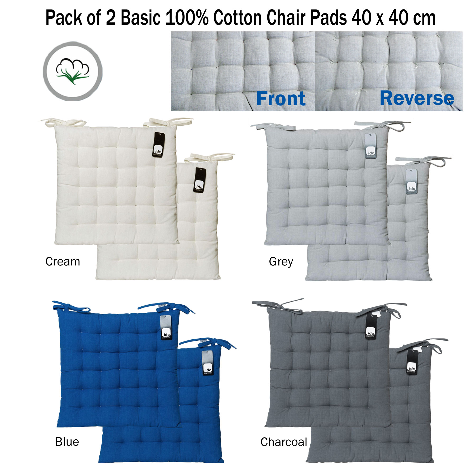 Set of 2 - Basic 100% Cotton Kitchen Dining Chair Pads Cushion ...
