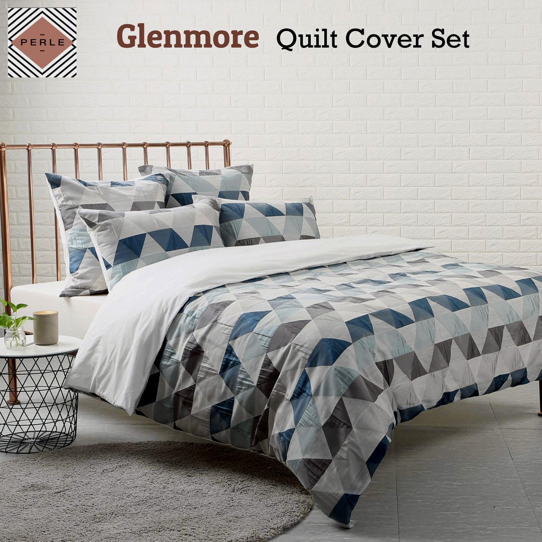 Details about glenmore quilt cover set by perle linge de maison queen king super king