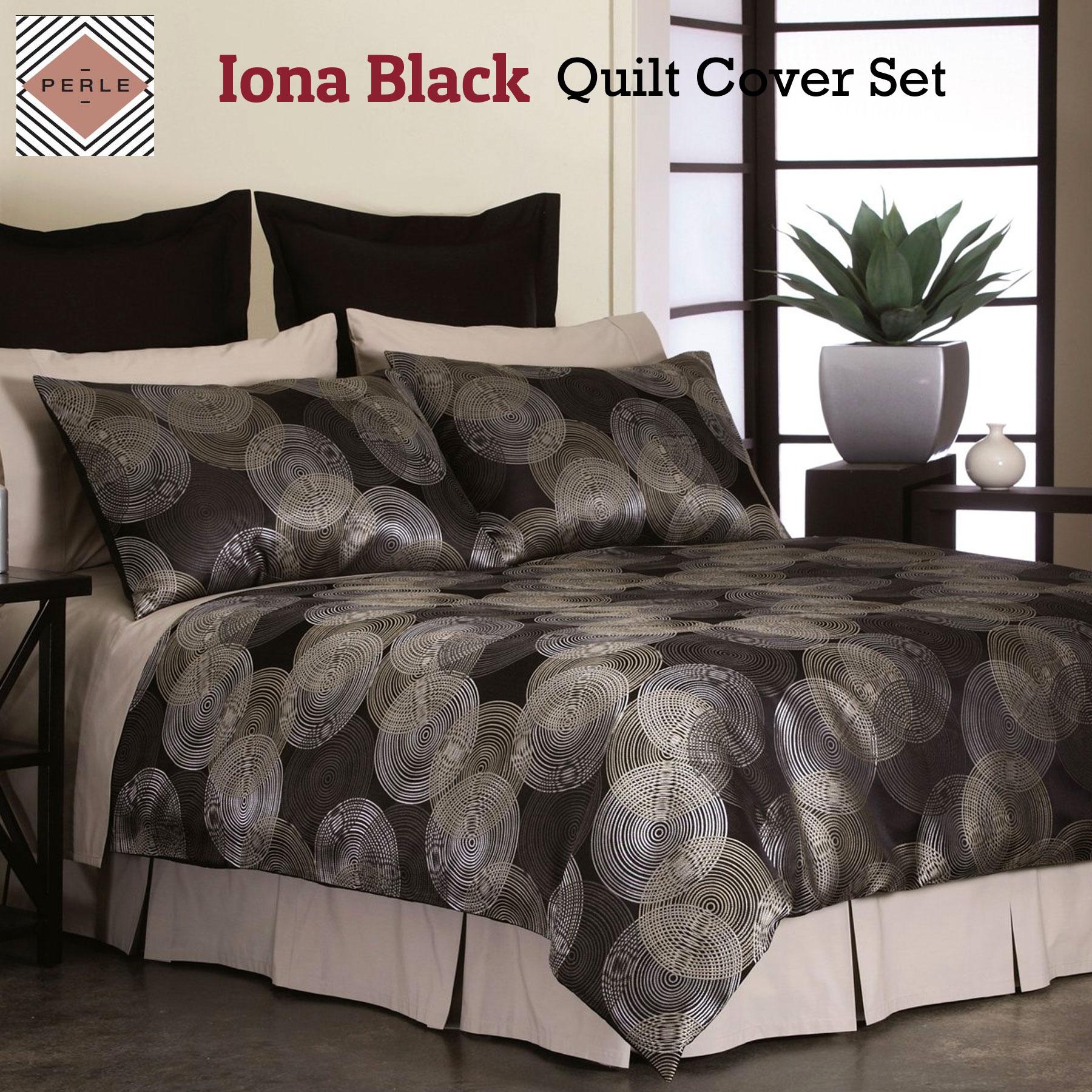 Details about iona black quilt cover set by perle linge de maison queen king super king