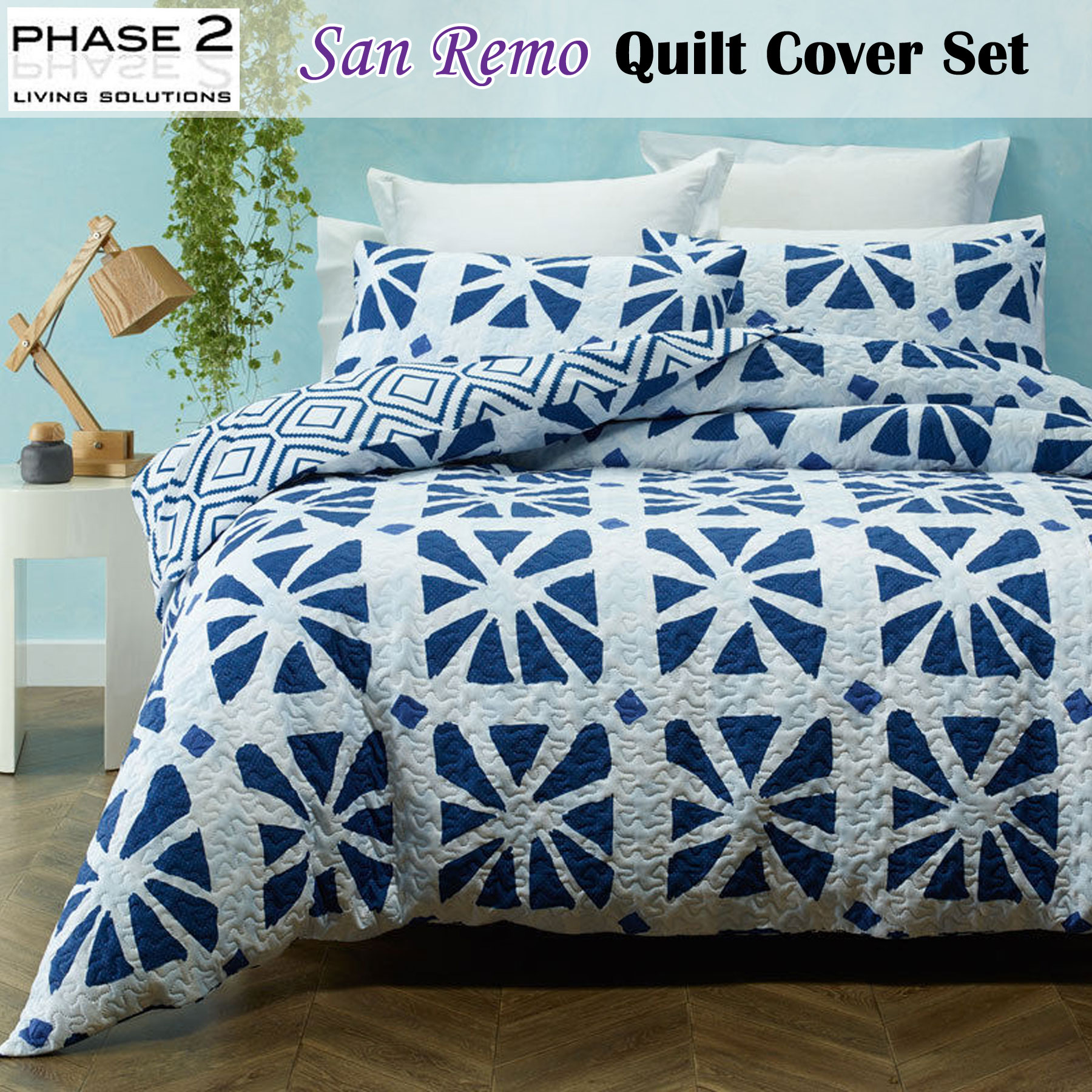 3 Pce Peillon Paisley Quilt Doona Duvet Cover Set by Phase 2 QUEEN KING