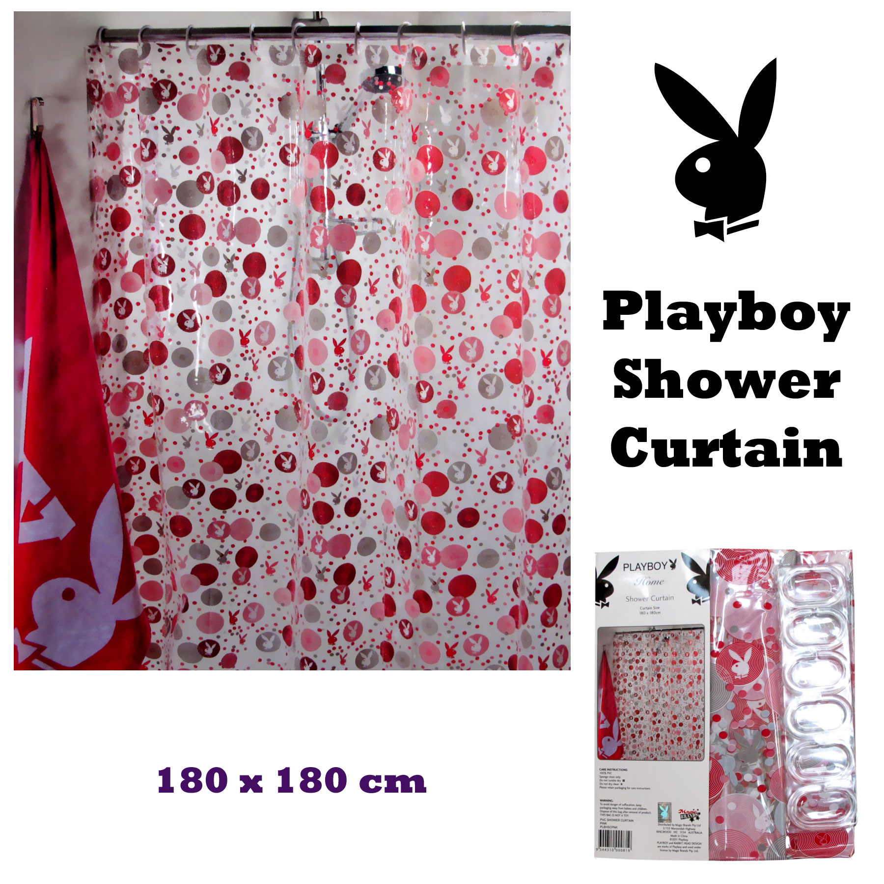 Details About Playboy Bunny Logo Pink White Printed PVC Shower Curtain With Hooks 180 X Cm