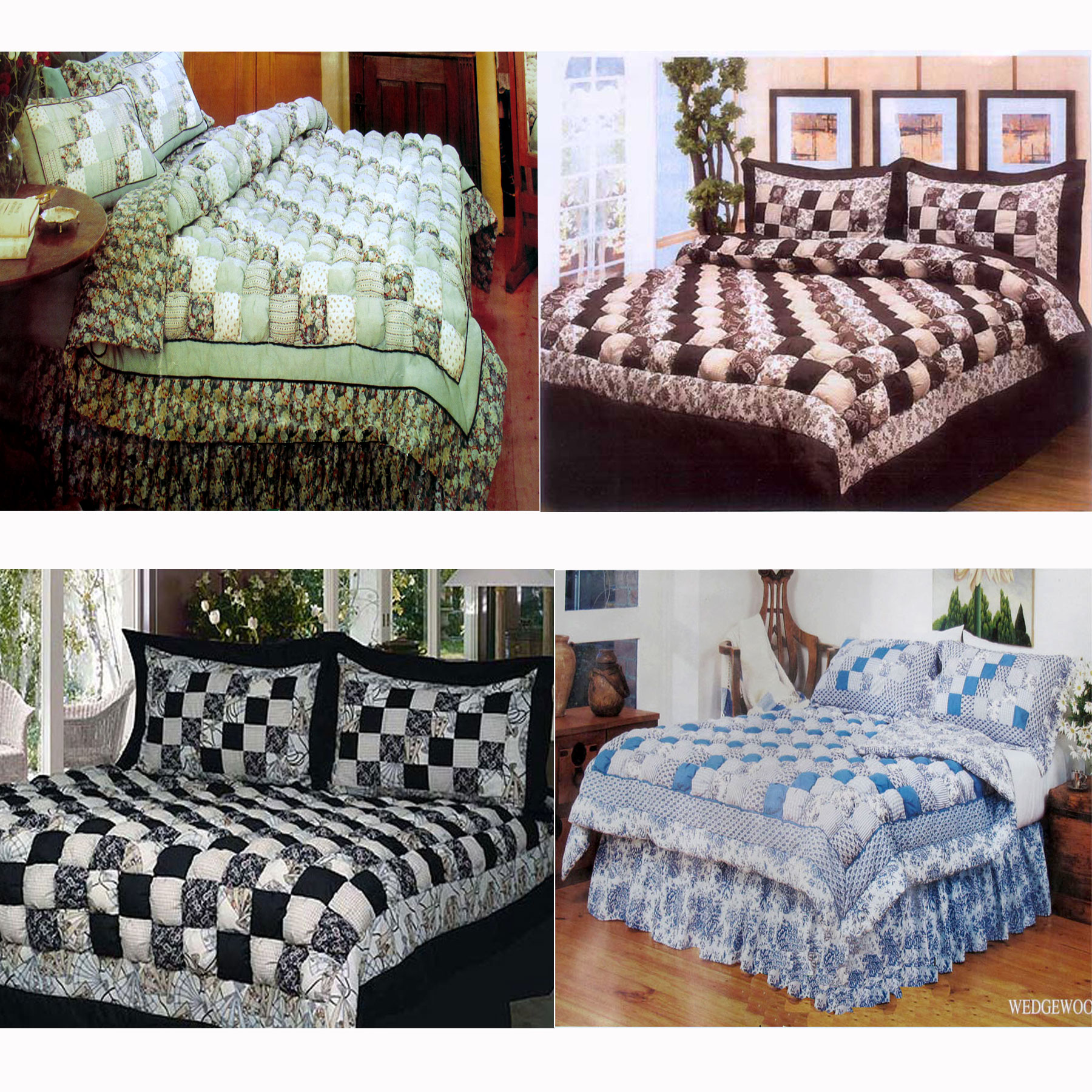 4 Pce Patchwork Puff Comforter Set Valance Double Or Queen Or