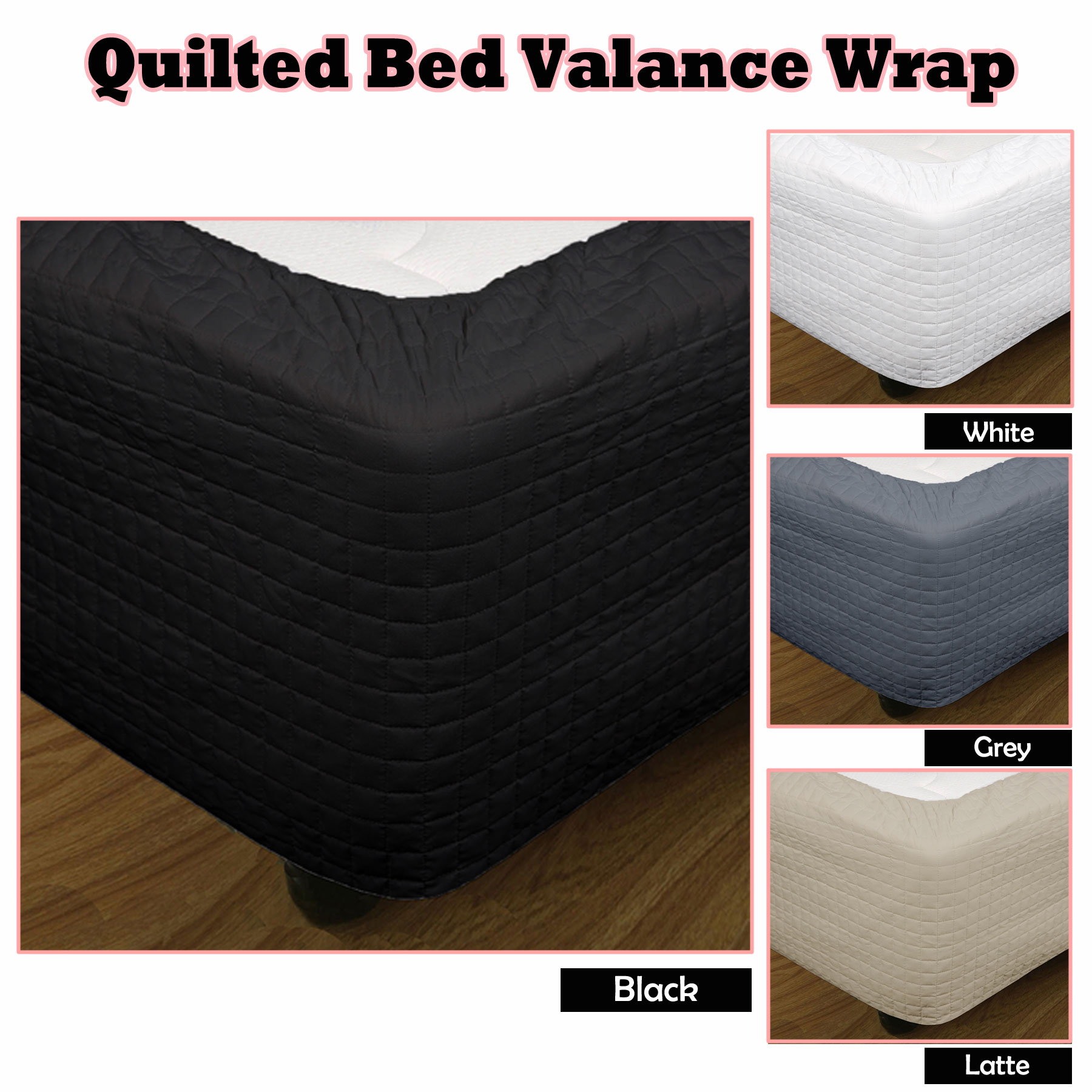 4 Color Choice - Quilted Bed Valance Wrap - SINGLE King Single ... : quilted valances - Adamdwight.com